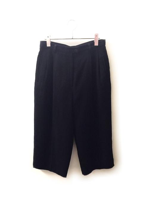 EVAN PICONE 2タック リメイク ワイドパンツ 裾切りっぱなし加工 膝下丈 ブラック 古着