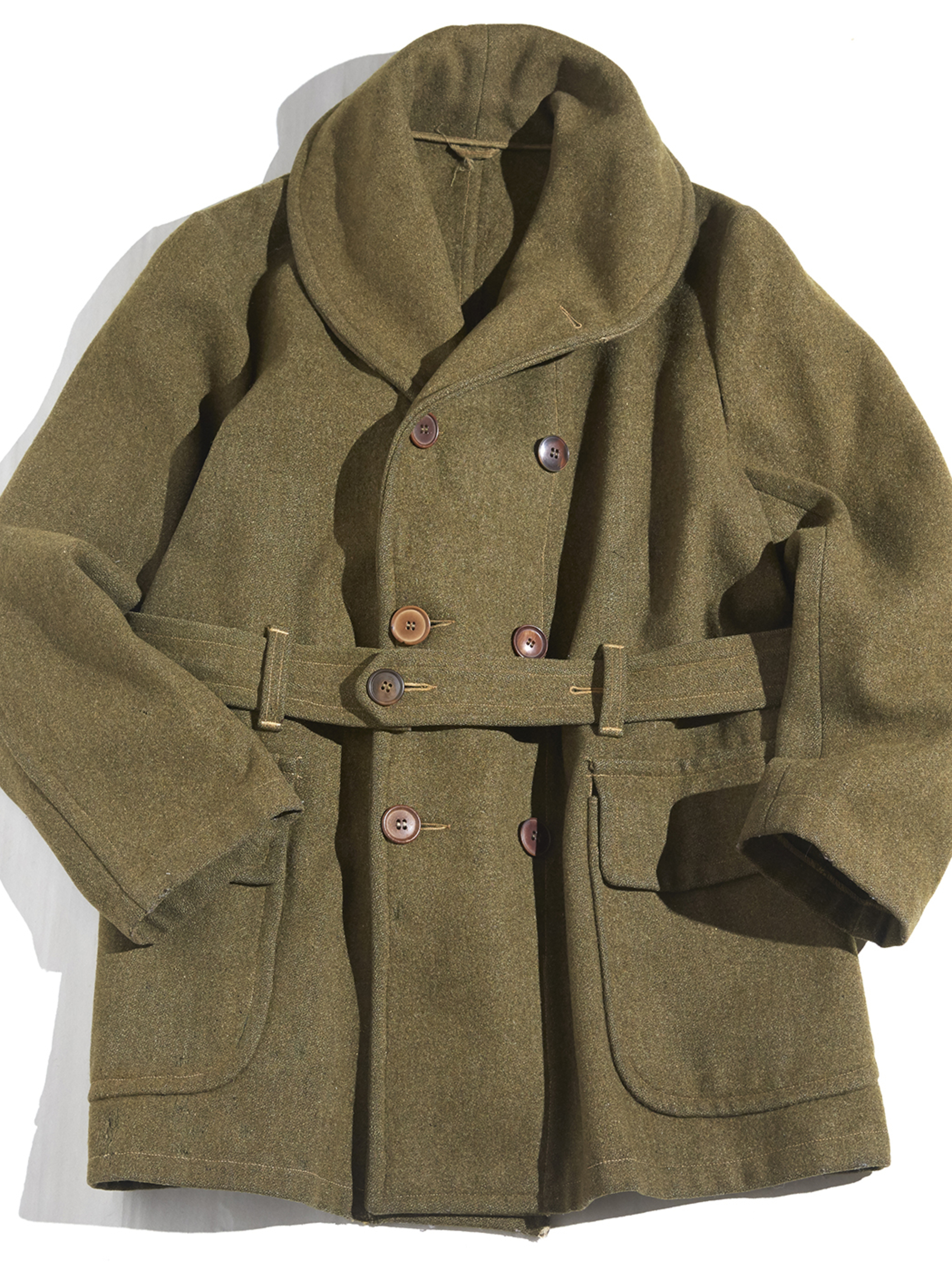 "1940s ""unknown"" shawl collar mackinaw jacket -OLIVE-"