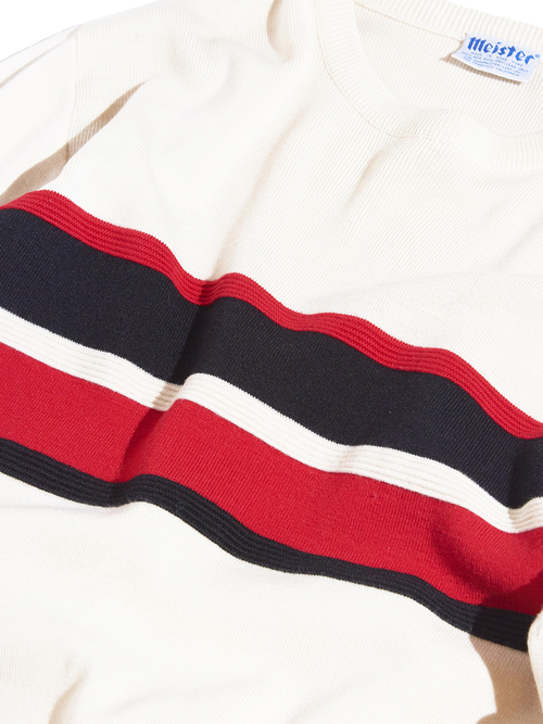 "1970s ""meister"" border wool knit -WHITE- <SALE¥12000→¥9600>"