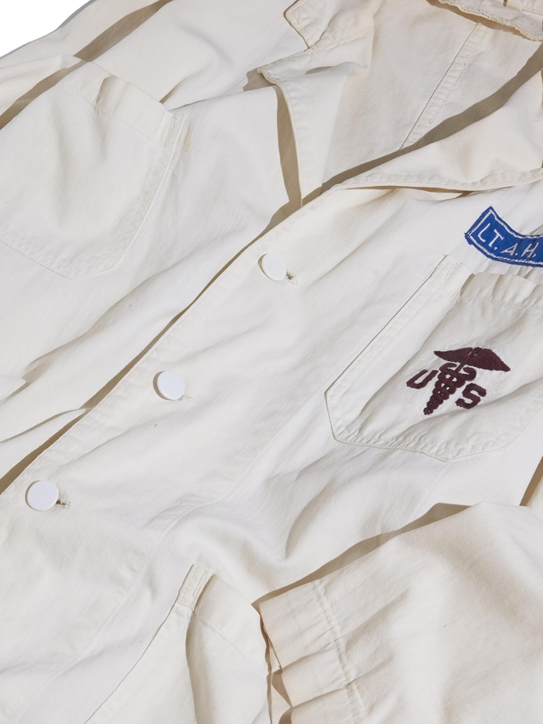"""1950s """"unknown"""" cotton shop coat -WHITE- <SALE¥24000→¥19200>"""