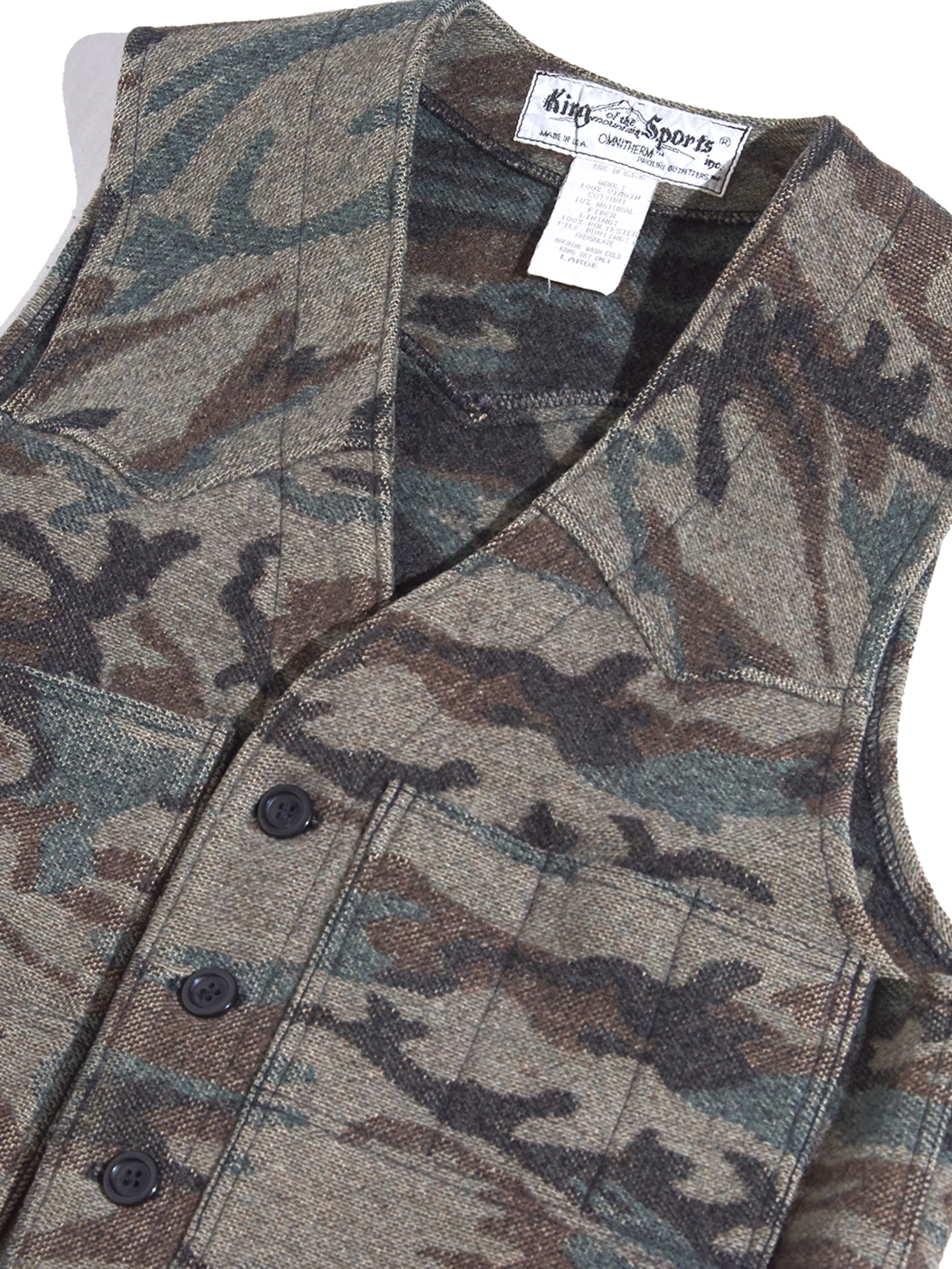 "1990s ""King of the mountain Sports"" wool vest -CAMOUFLAGE-"