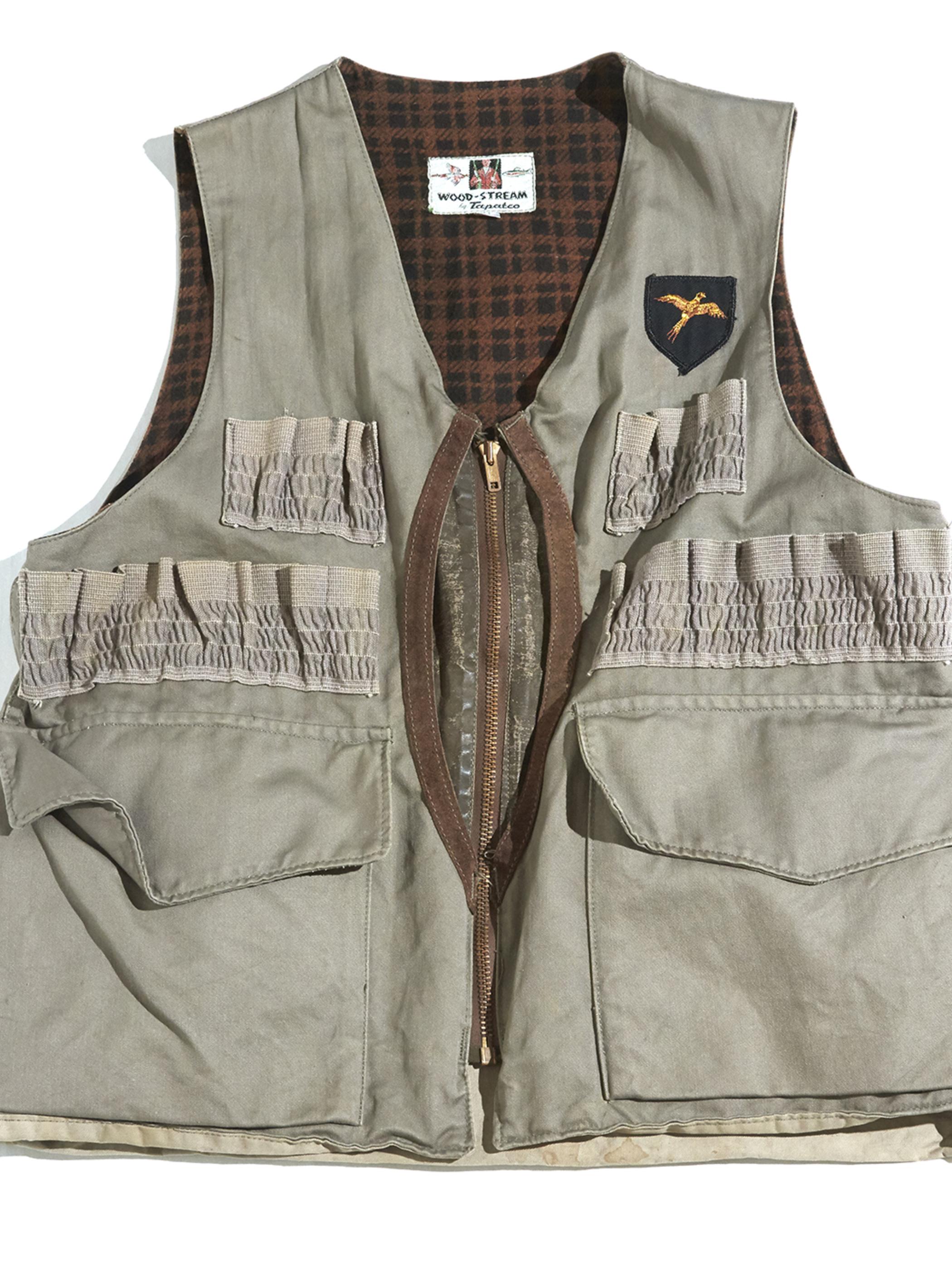 "1960s ""WOOD STREAM"" half moon pocket hunting vest -GREY- <SALE¥18000→¥14400>"