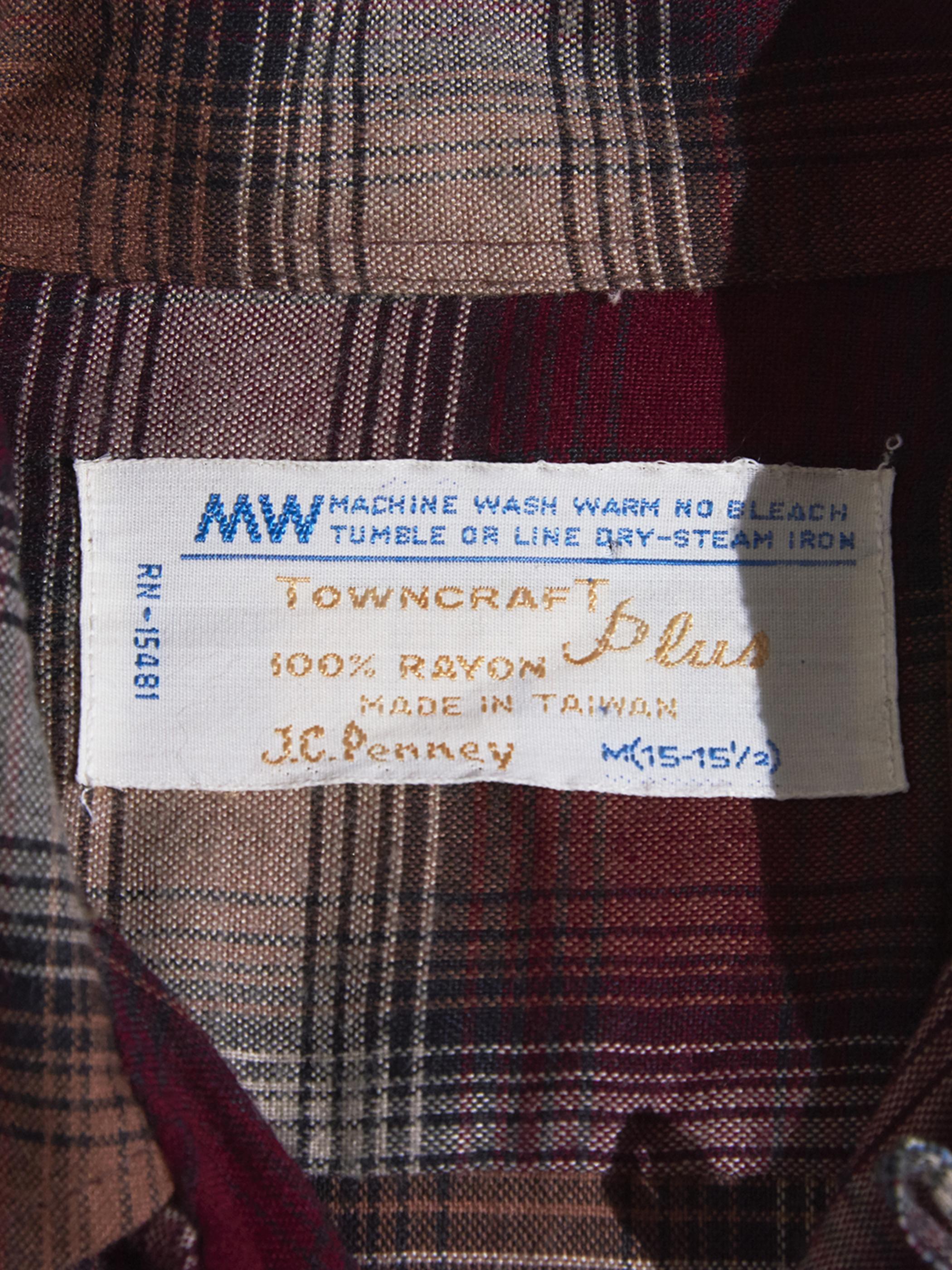 "1970s ""J.C.Penny"" rayon check shirt -RED-"
