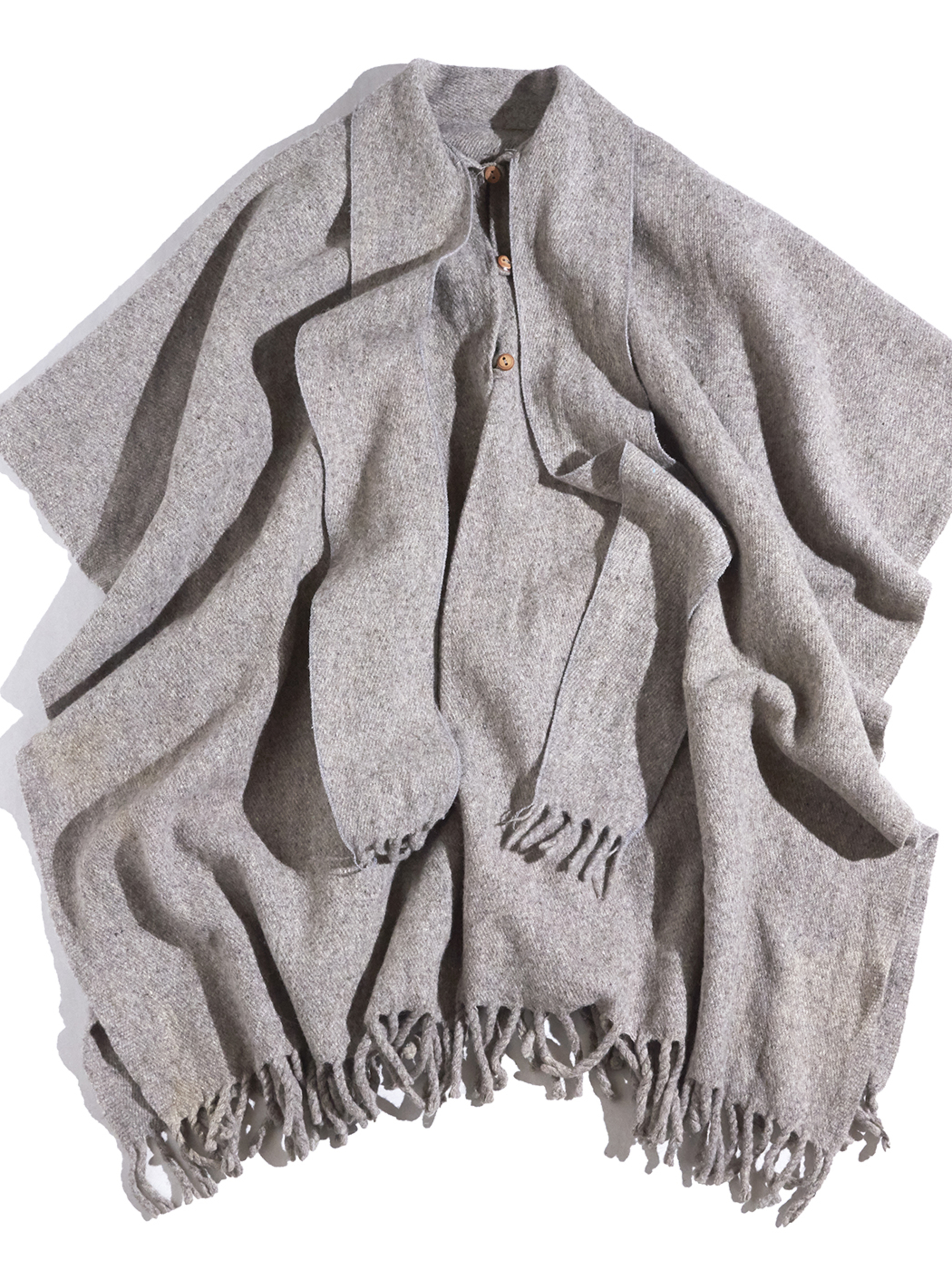"1980s ""unknown"" wool cape coat -GREY-"
