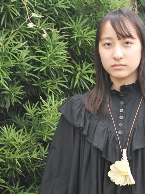 ruffle collar DRESS - col.black