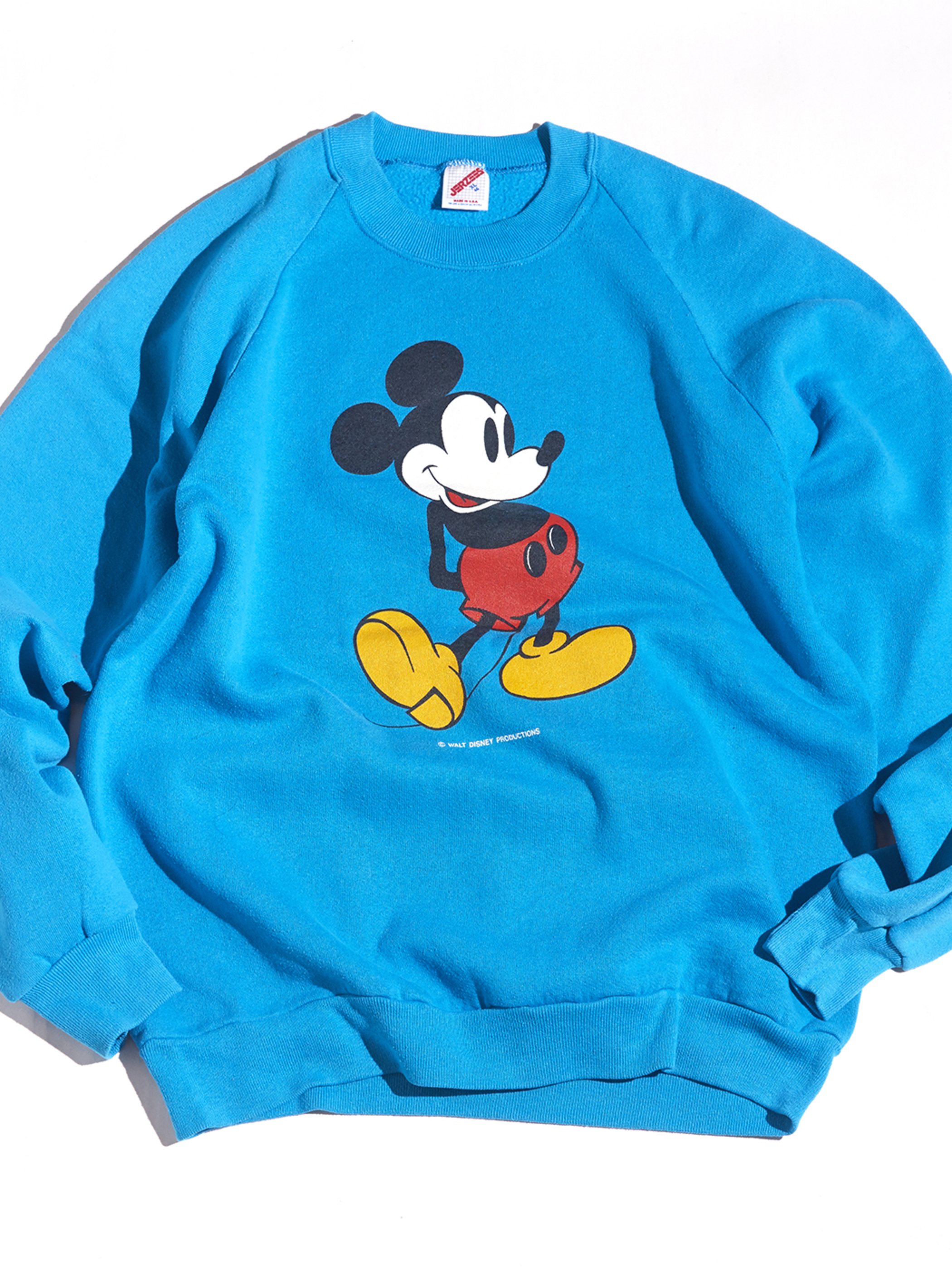 "1980s ""Mickie Mouse"" printed sweat -TURQUOISE BLUE-"