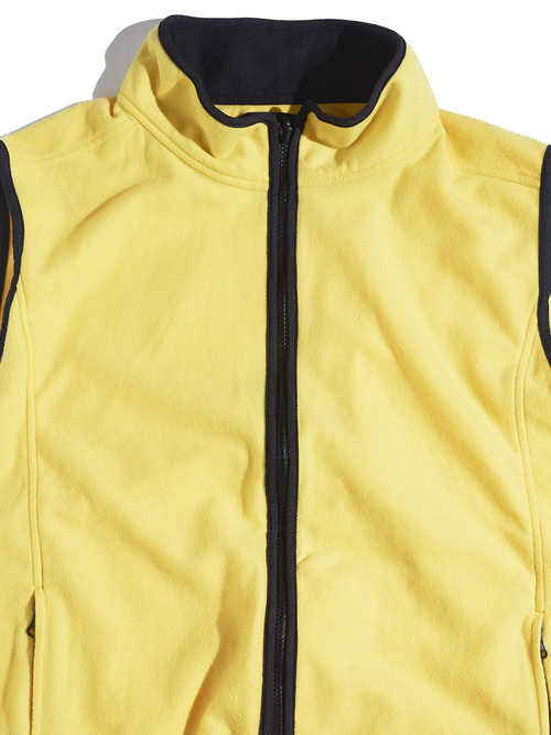 """1990s """"EBTEK"""" fleece zip up vest -YELLOW-"""