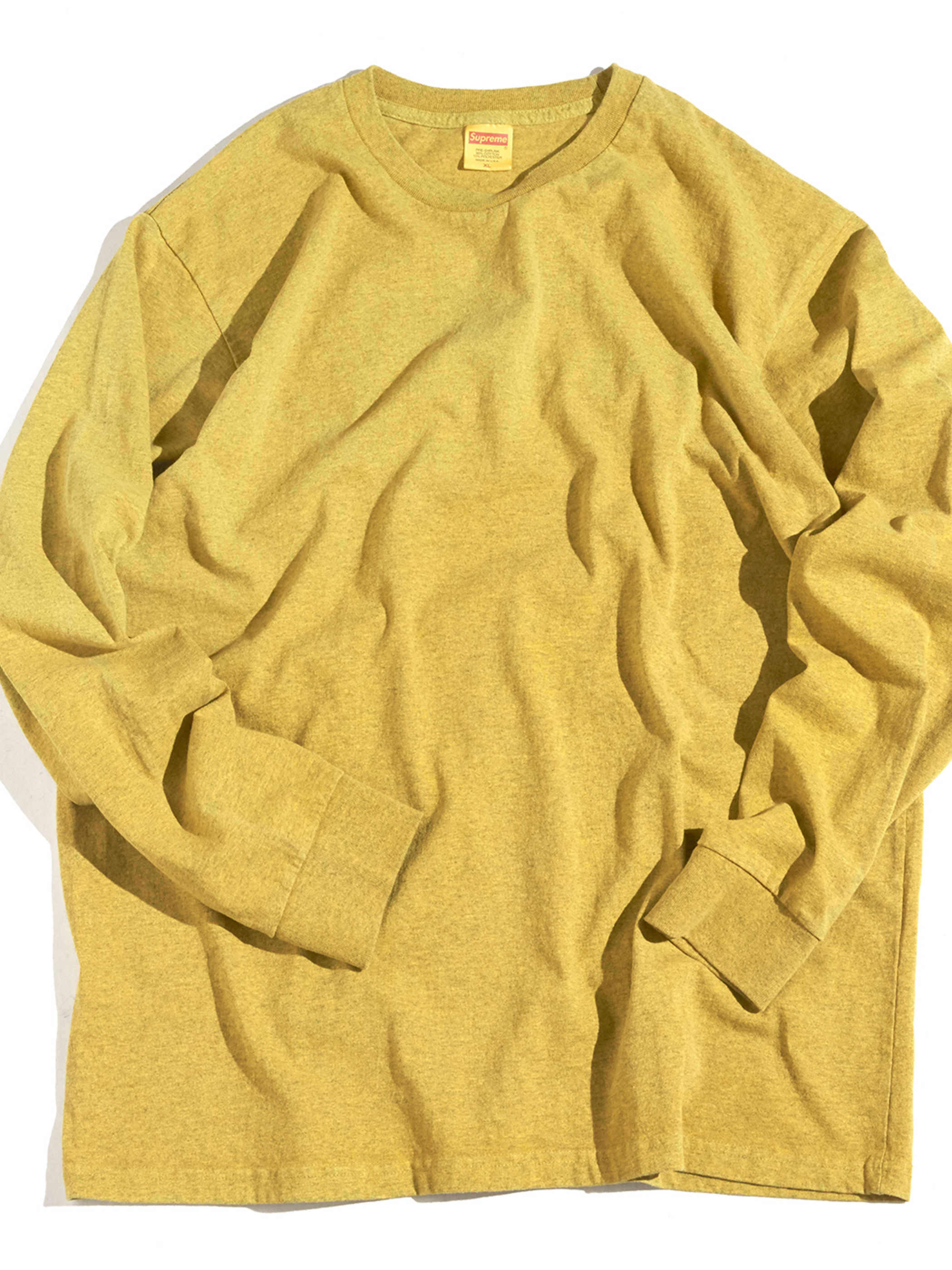 "2000s ""SUPREME"" L/S blank tee -PIGMENT DYED MUSTARD-"