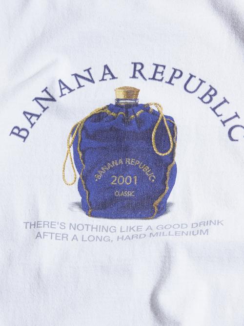 """2000s? """"BANANA REPUBLIC"""" printed tee -WHITE-"""