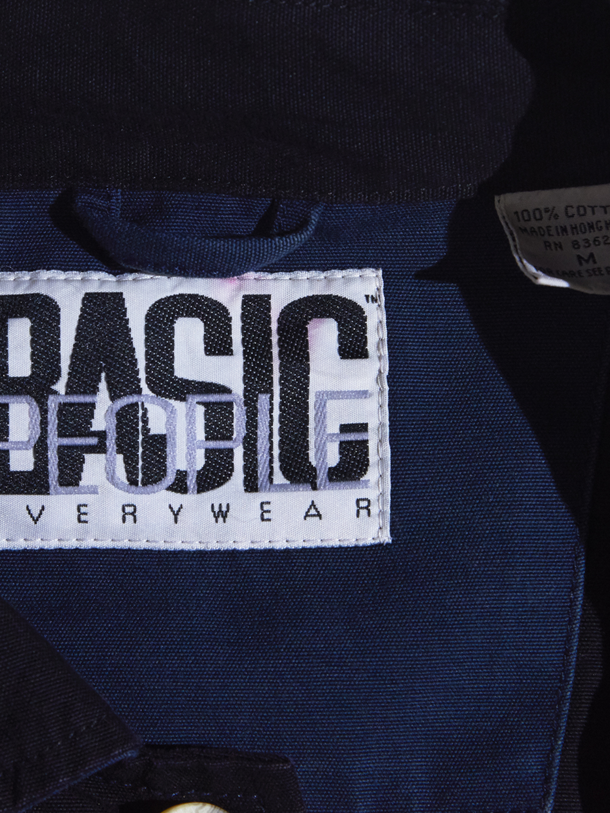 "1990s ""BASIC PEOPLE"" cotton switching border jacket -BLACK×GREEN×NAVY-"