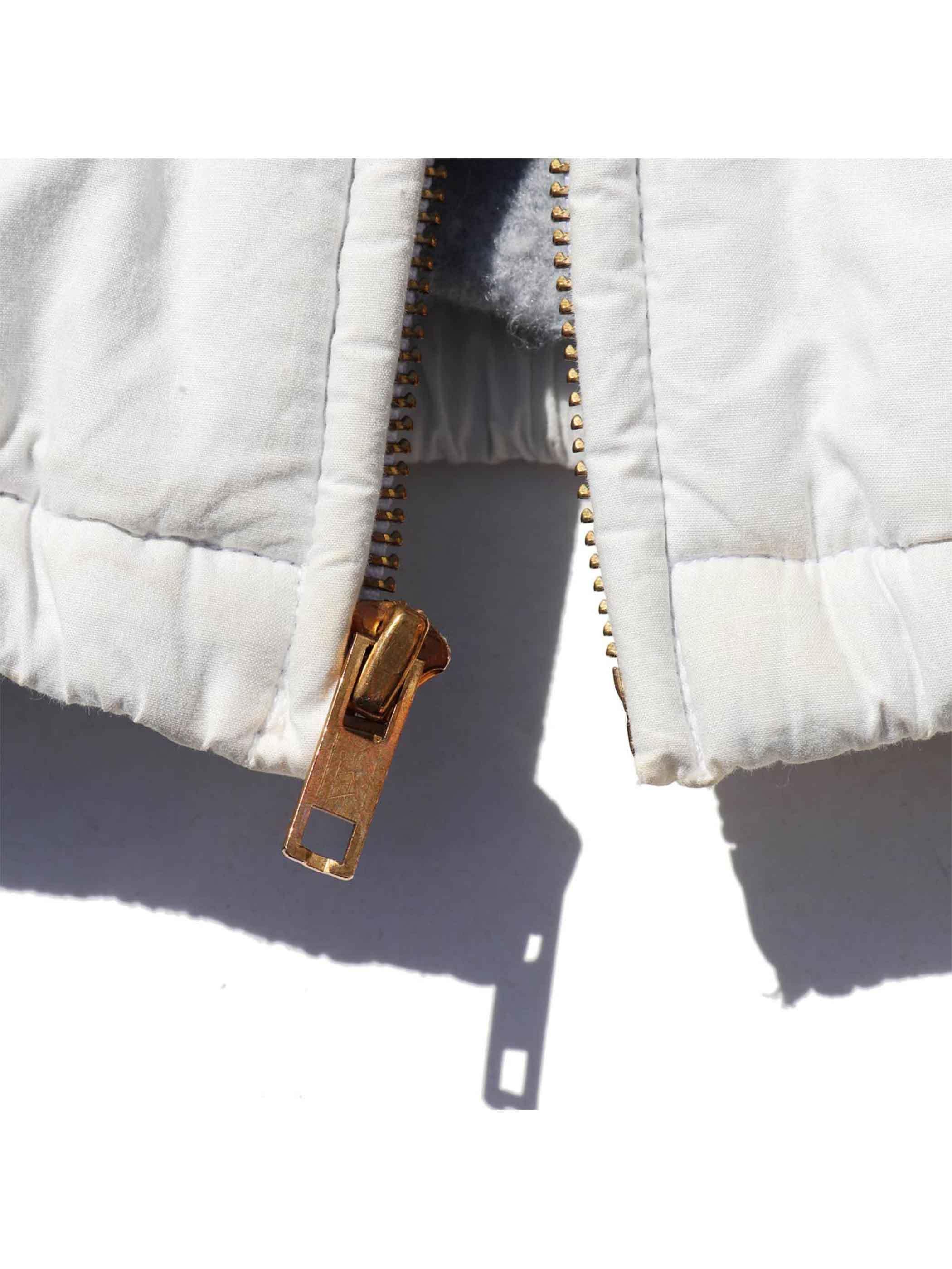 80's POLO RALPH LAUREN USA製 ホワイト コットンポプリン フリースライナー ドリズラージャケット [M]