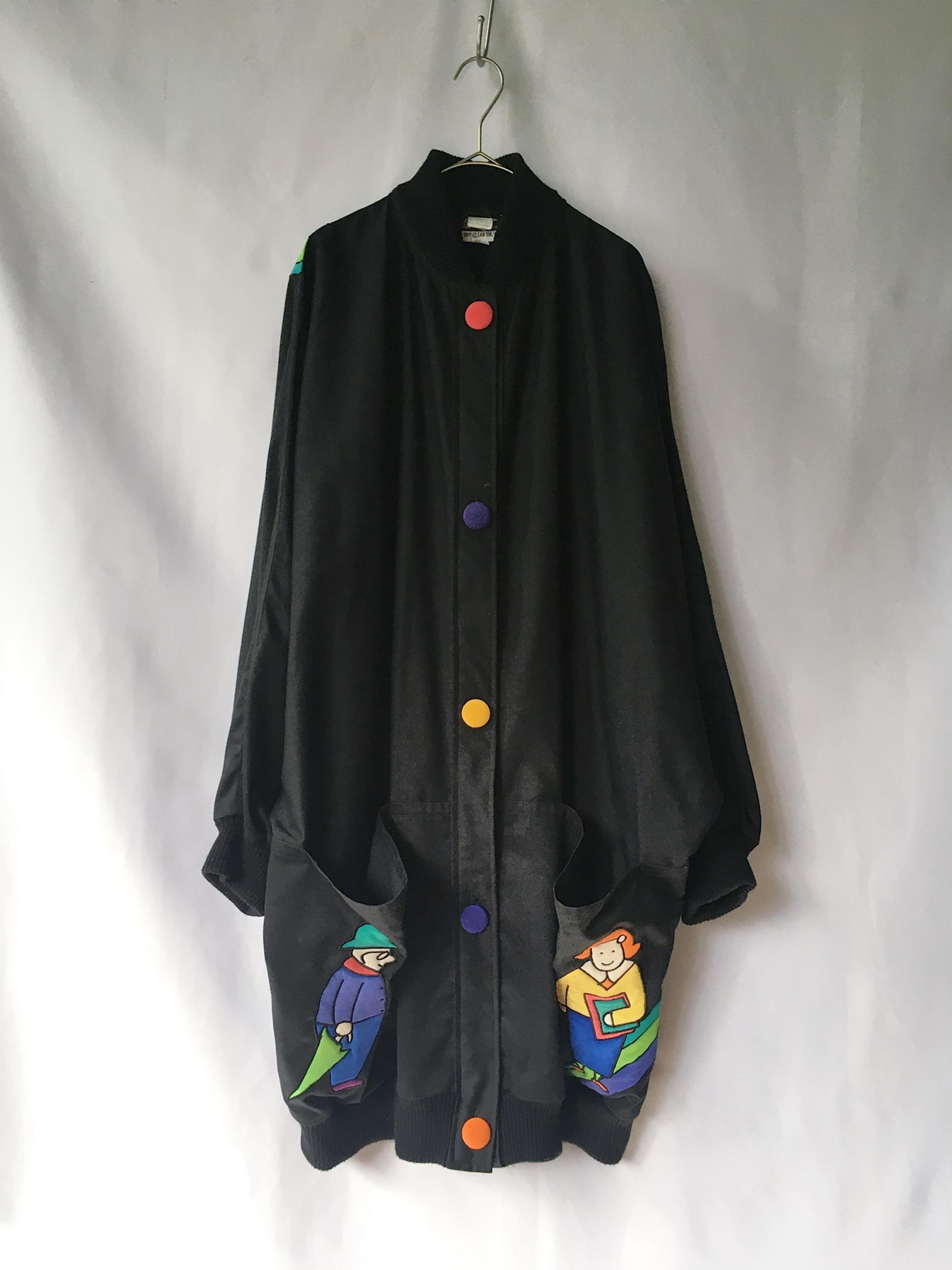 silk applique dolman sleeve jacket 80s