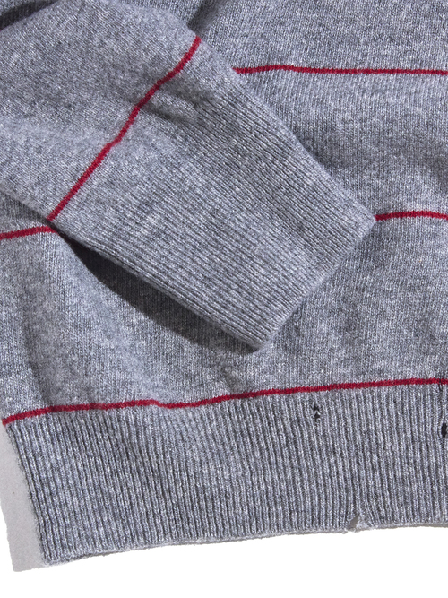 """1970s """"Picadilly"""" wool knit polo shirt -GREY-"""