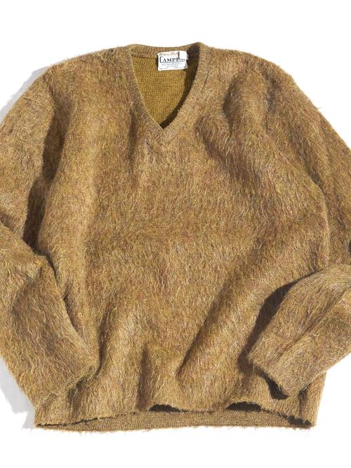 """1960s """"CAMPUS"""" v-neck mohair knit -MASTARD-"""