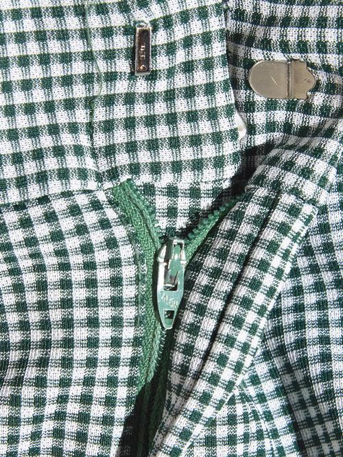 "1970s ""MONTGOMERY WARD"" polyester jacquard slacks -GREEN-"
