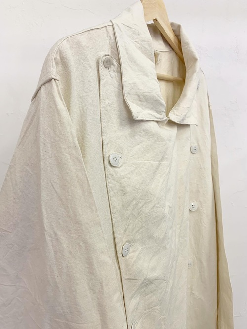 1950's〜 French military hospital double breasted linen coat