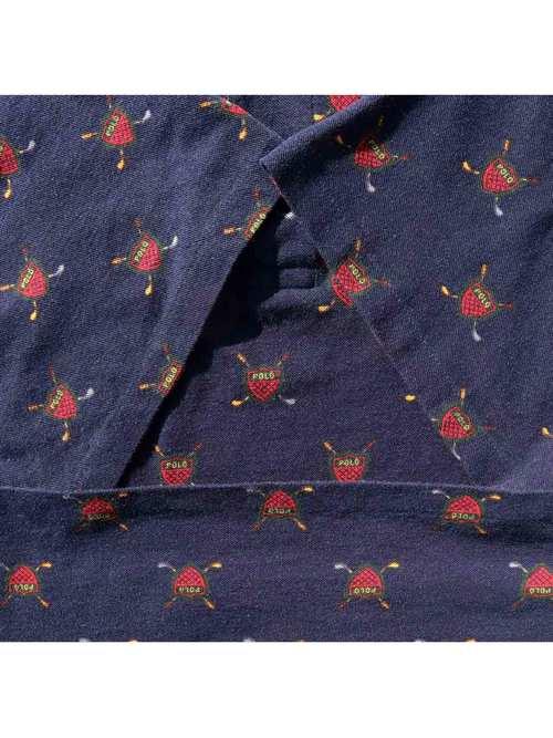 90's POLO RALPH LAUREN USA製 ネイビー 総柄 ポロシャツ [XL]