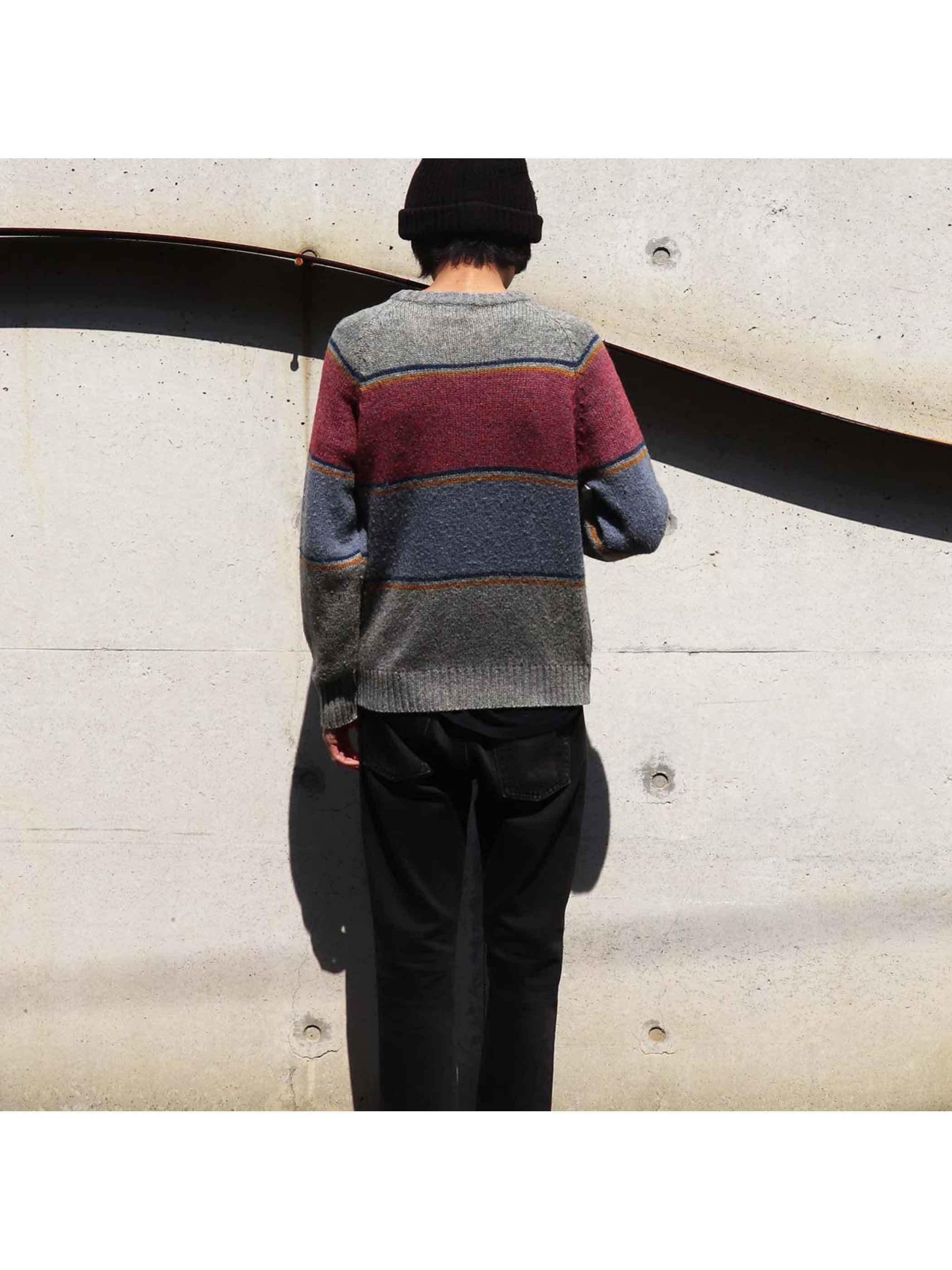80's McGREGOR Panel Stripe Knit Sweater [L]