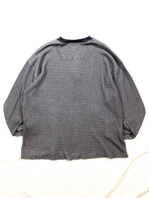 half zip waffle long sleeve T shirt