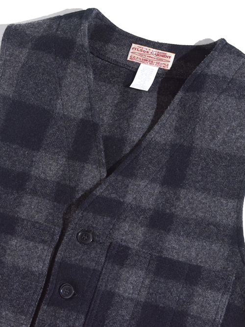 "1990s ""FILSON"" wool melton check vest -CHACOAL-"