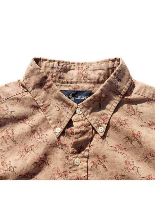90's RALPH LAUREN 乗馬柄 三点留め ボタンダウンシャツ [S]