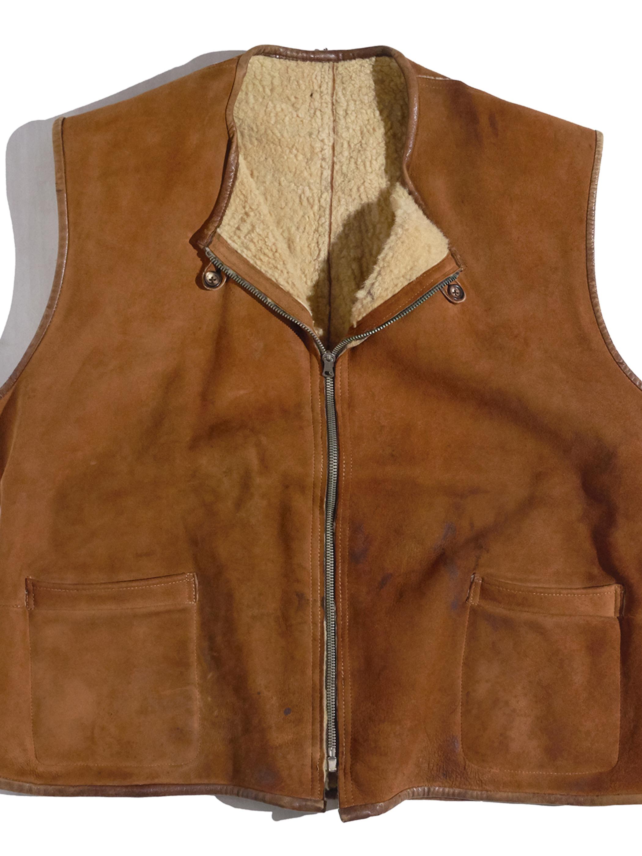 "1940s "" Abercrombie & Fitch"" mouton vest -BROWN-"