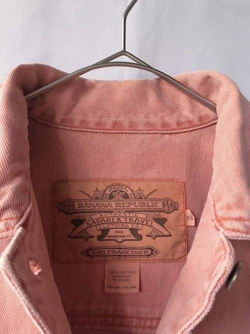 salmon pink denim jacket