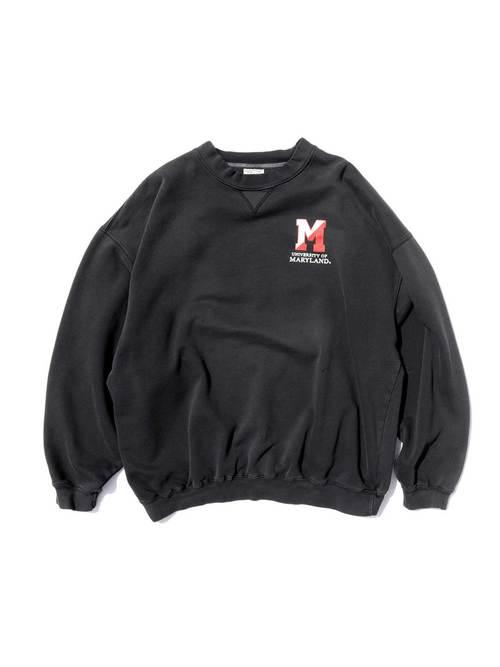 90's~ UNIVERSITY OF MARYLAND カレッジロゴ ブラック スウェット [XL]
