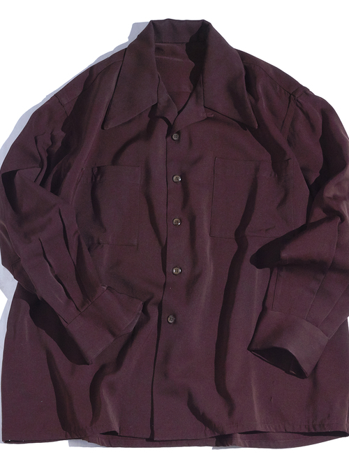 "1940s ""unknown"" wool gabardine shirt -BROWN-"