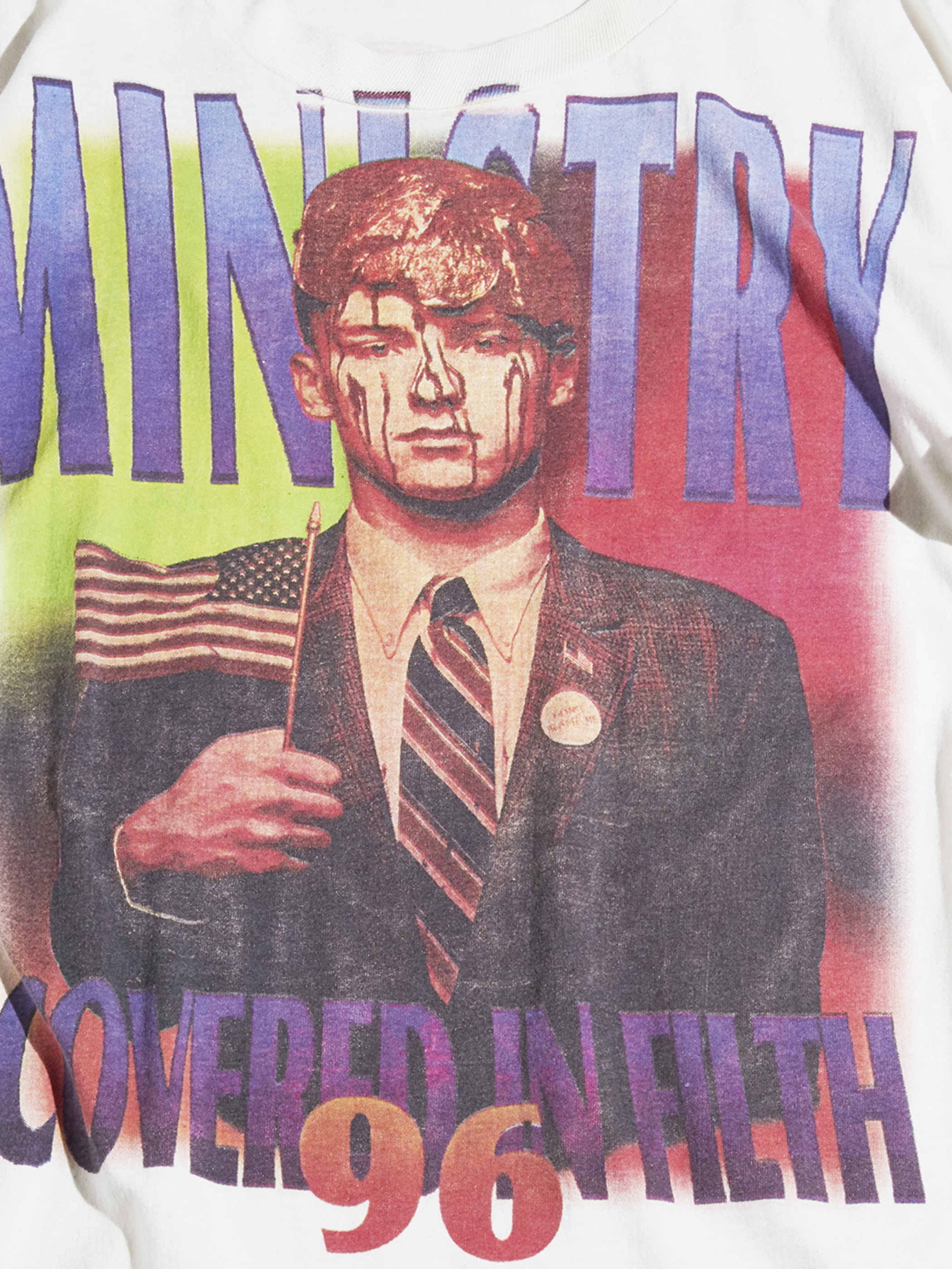 """1990s """"MINISTRY"""" printed tee -WHITE- <SALE¥22500→¥18000>"""