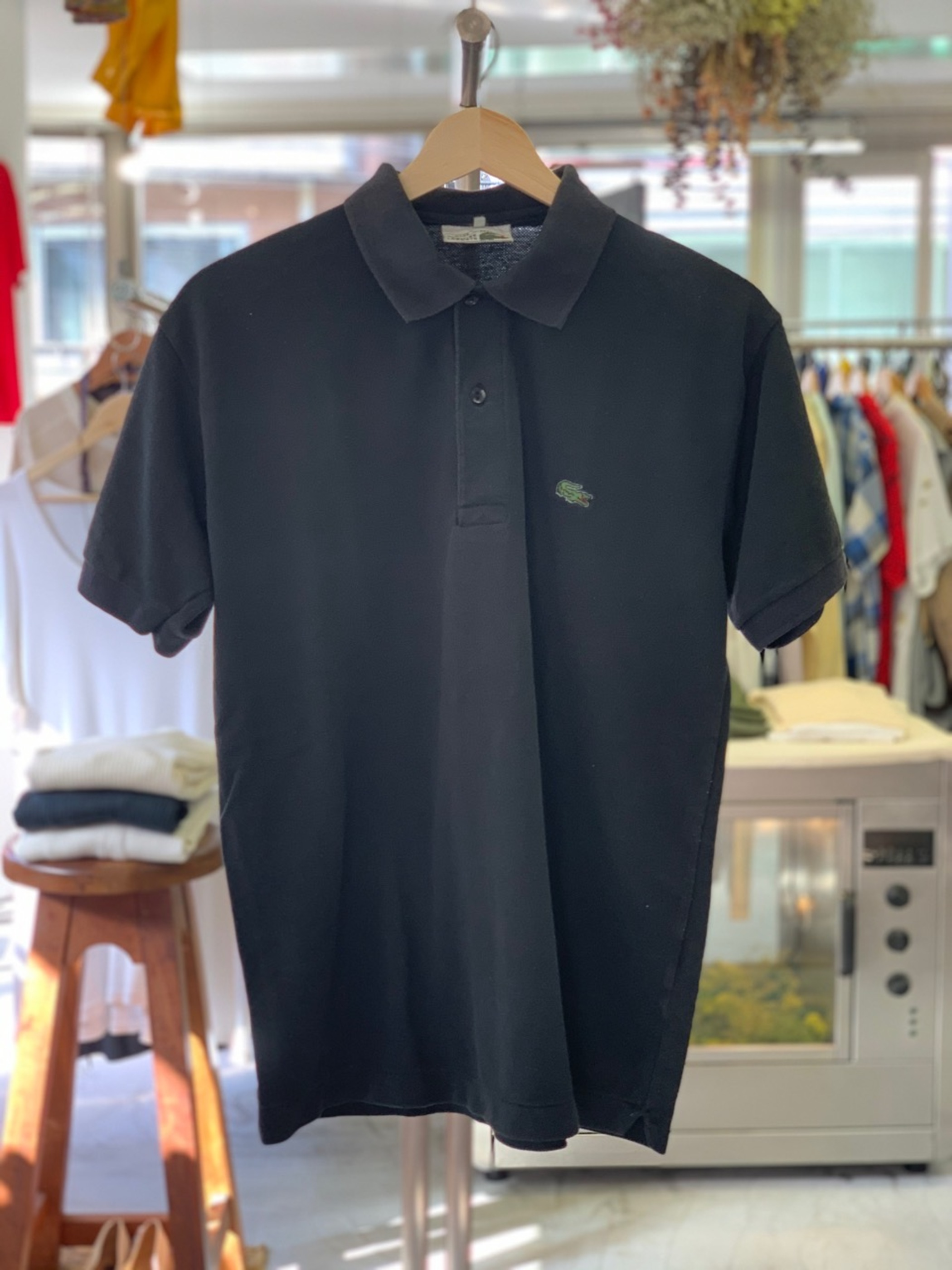 French Lacoste polo shirt black color made in France