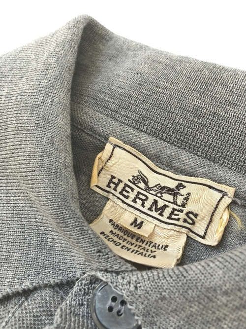 "HERMES / long sleeve polo shirt "" gray "" (USED)"
