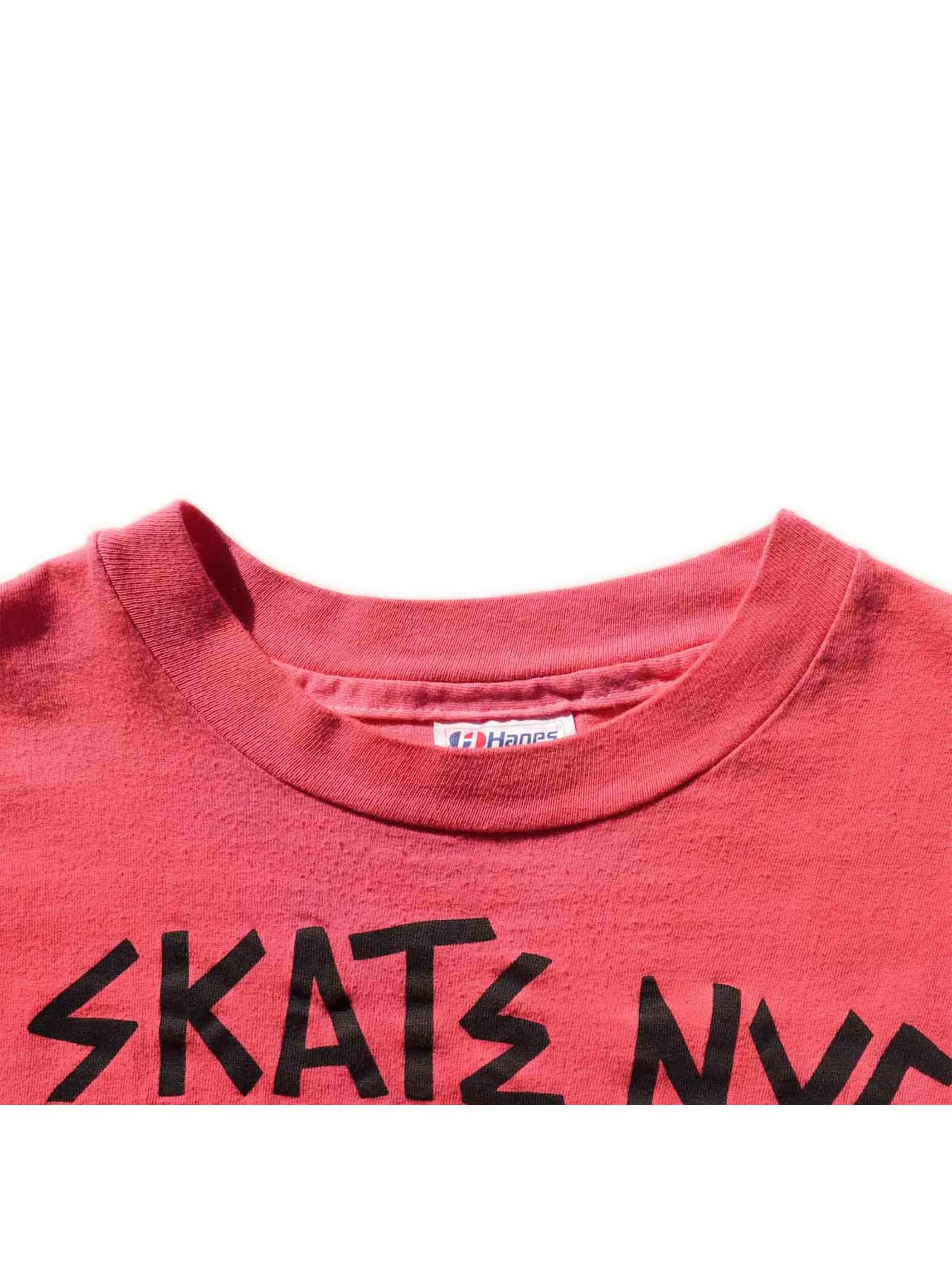 "90's SKATE NYC CENTRAL PARK ""ピンクオーバーダイ"" プリントTシャツ [XL]"