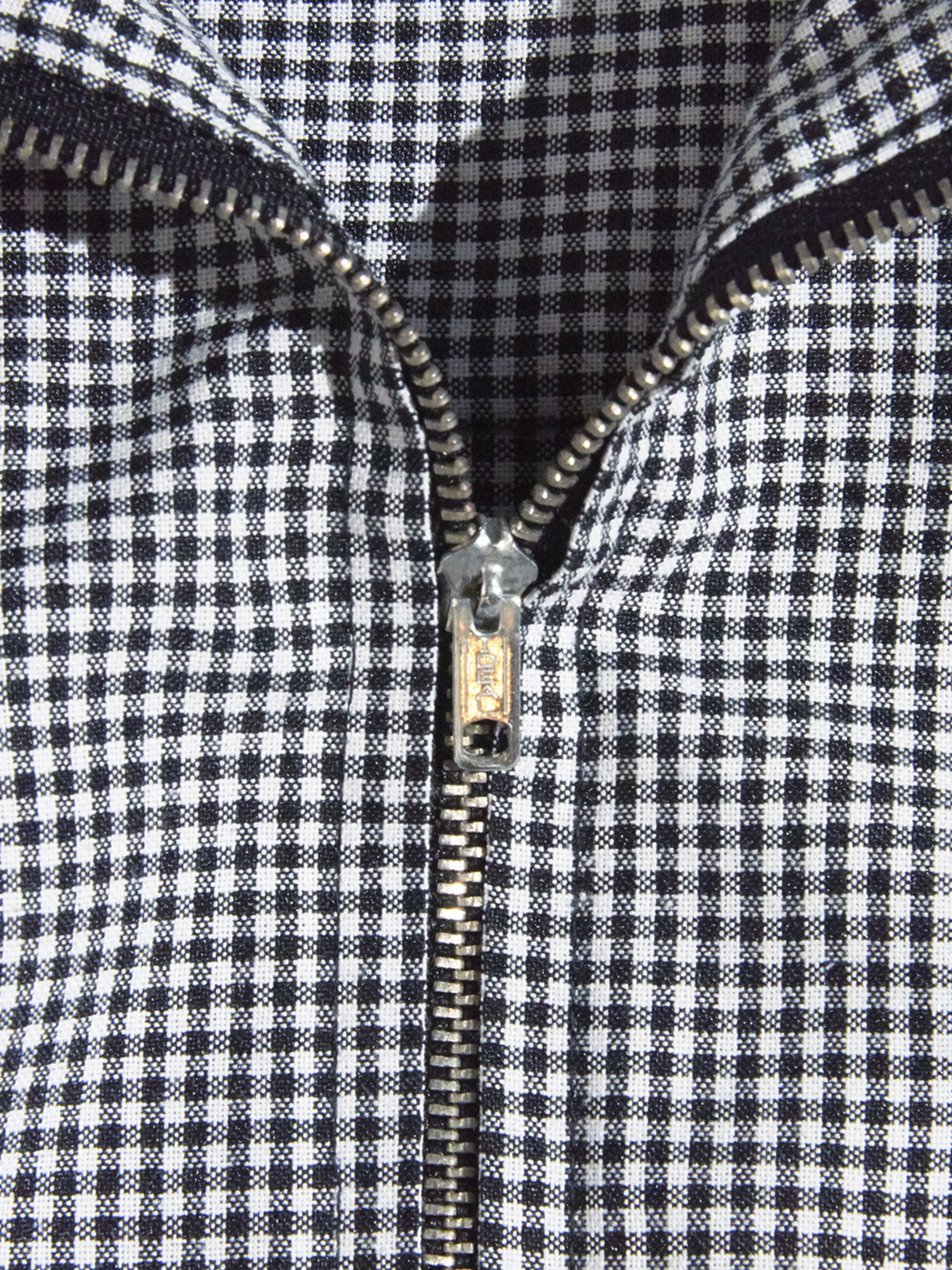 """1980s """"unknown"""" zip up check shirt -GREY-"""