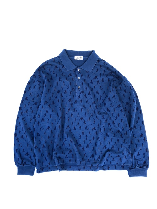 "HERMES  / long sleeve polo shirt "" Blue hunting pattern""  (USED)"