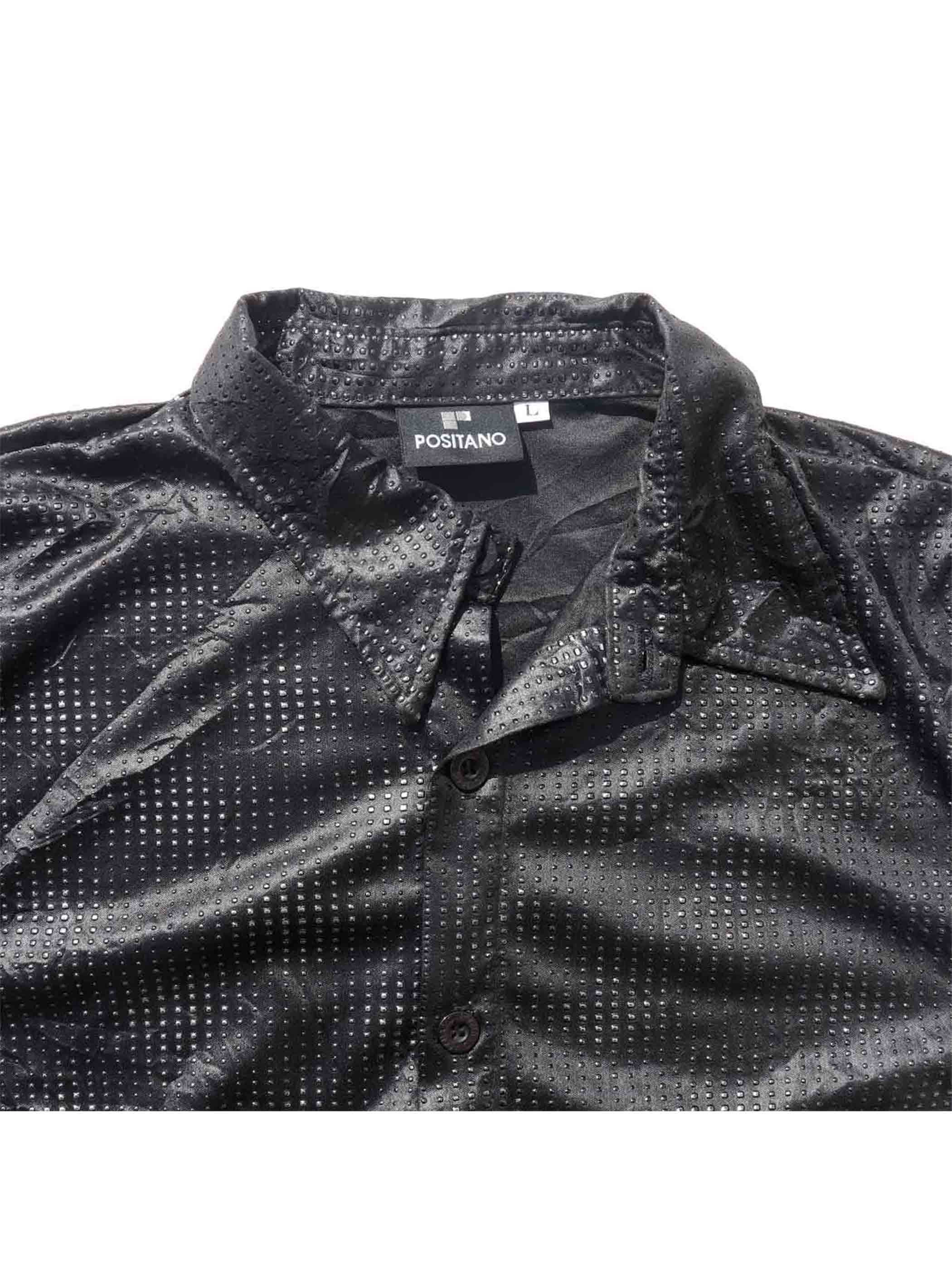 90's POSITANO Halftone Dot Pattern S/S Shirt Made In U.S.A. [L]