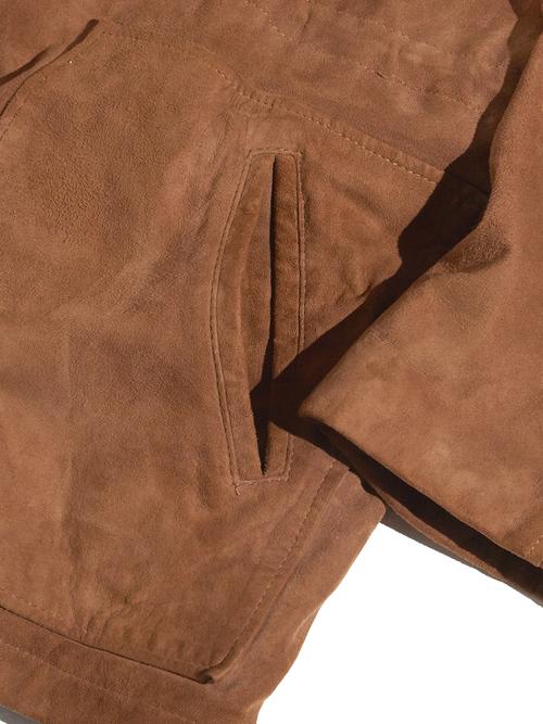 """1980s """"l.magnin"""" nubak zip up hooded jacket -BROWN-"""