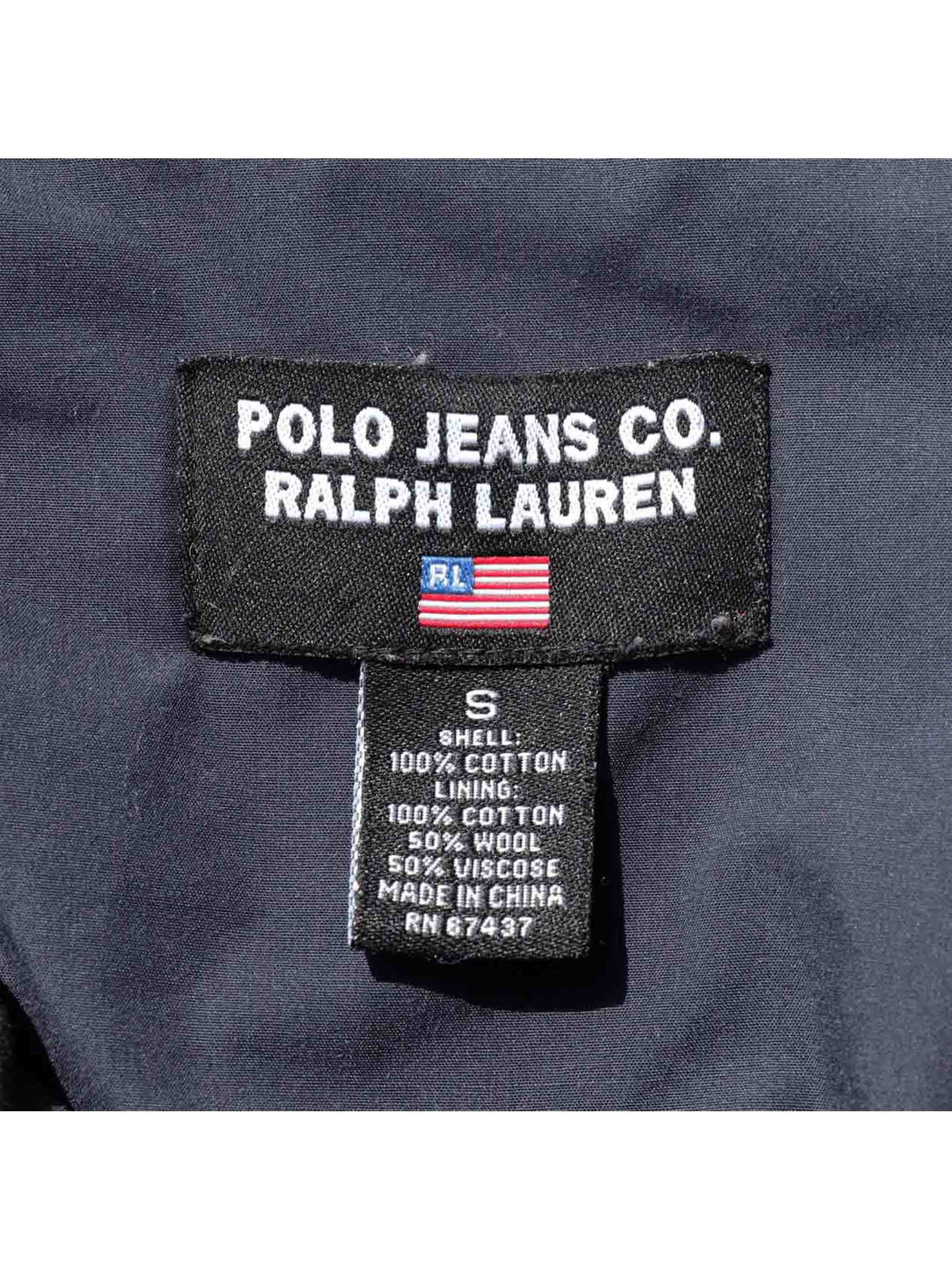 90's POLO JEANS RALPH LAUREN ブラック コットンPコート [S]
