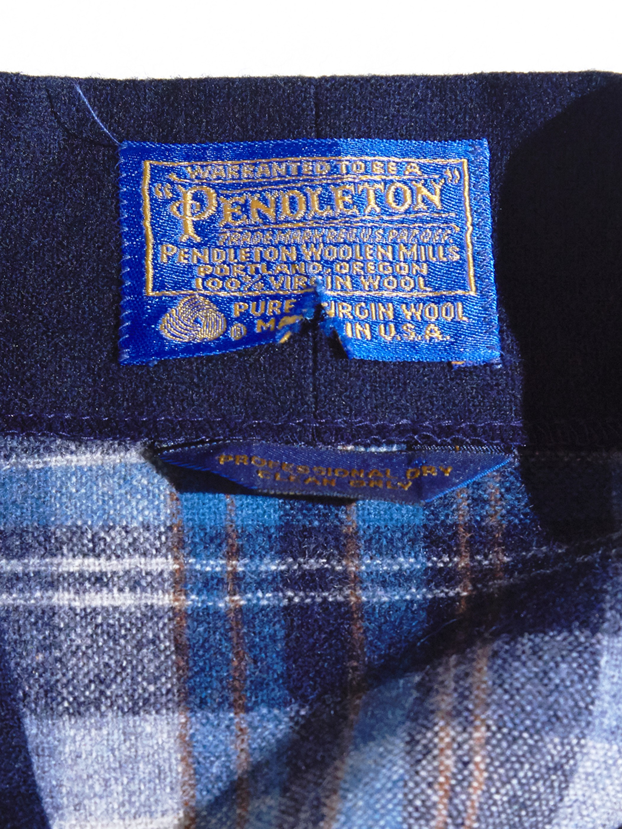 "1970s ""PENDLETON"" wool check gown -BLUE-"