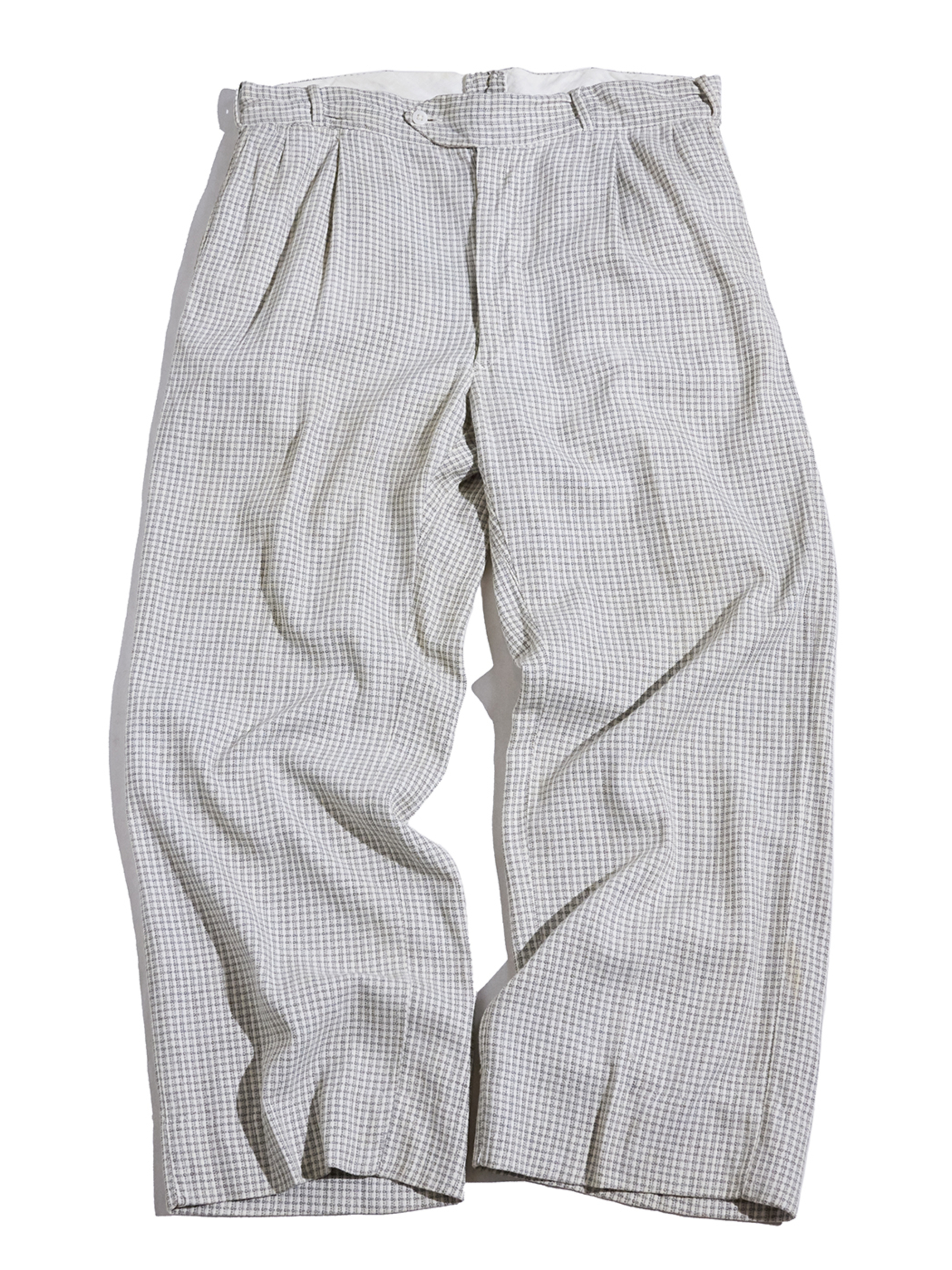 "1950s ""BIBB CLOTH"" rayon check slacks -GREY-"