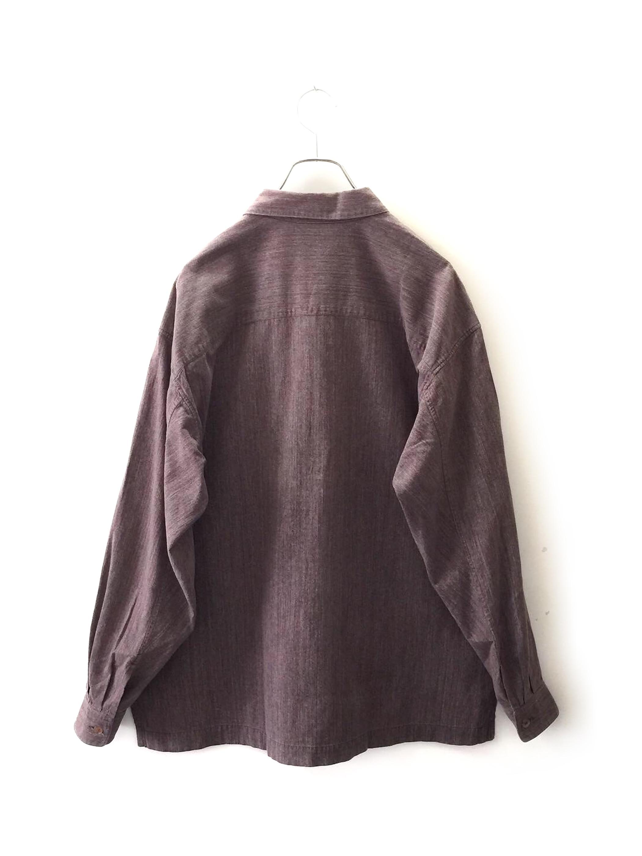 ISSEY MIYAKE MEN コットンシャツ パープル系 オーバーサイズ size M メンズ 古着