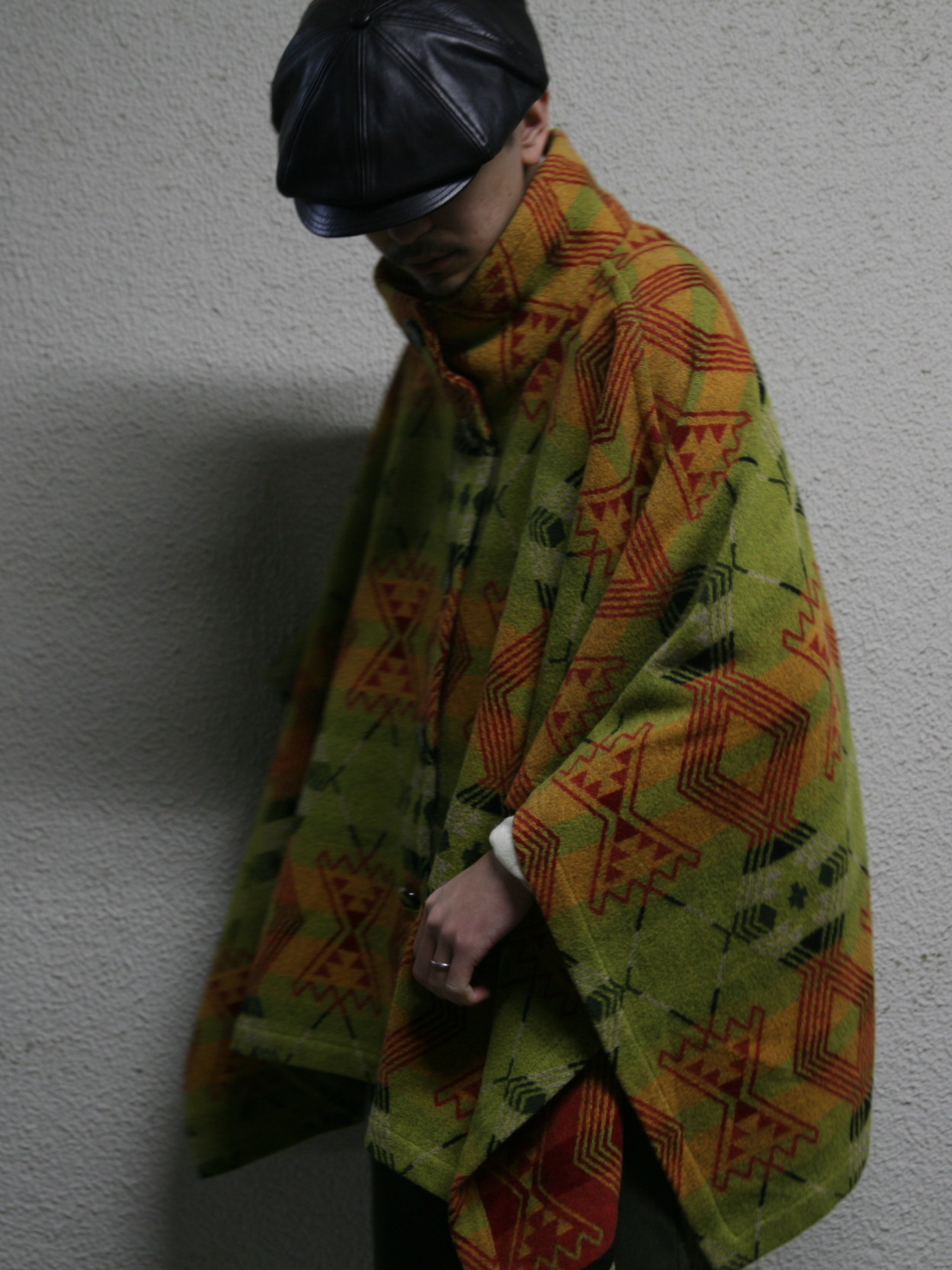 "1990s ""PENDLETON"" wool pattern cape coat -GREEN-"