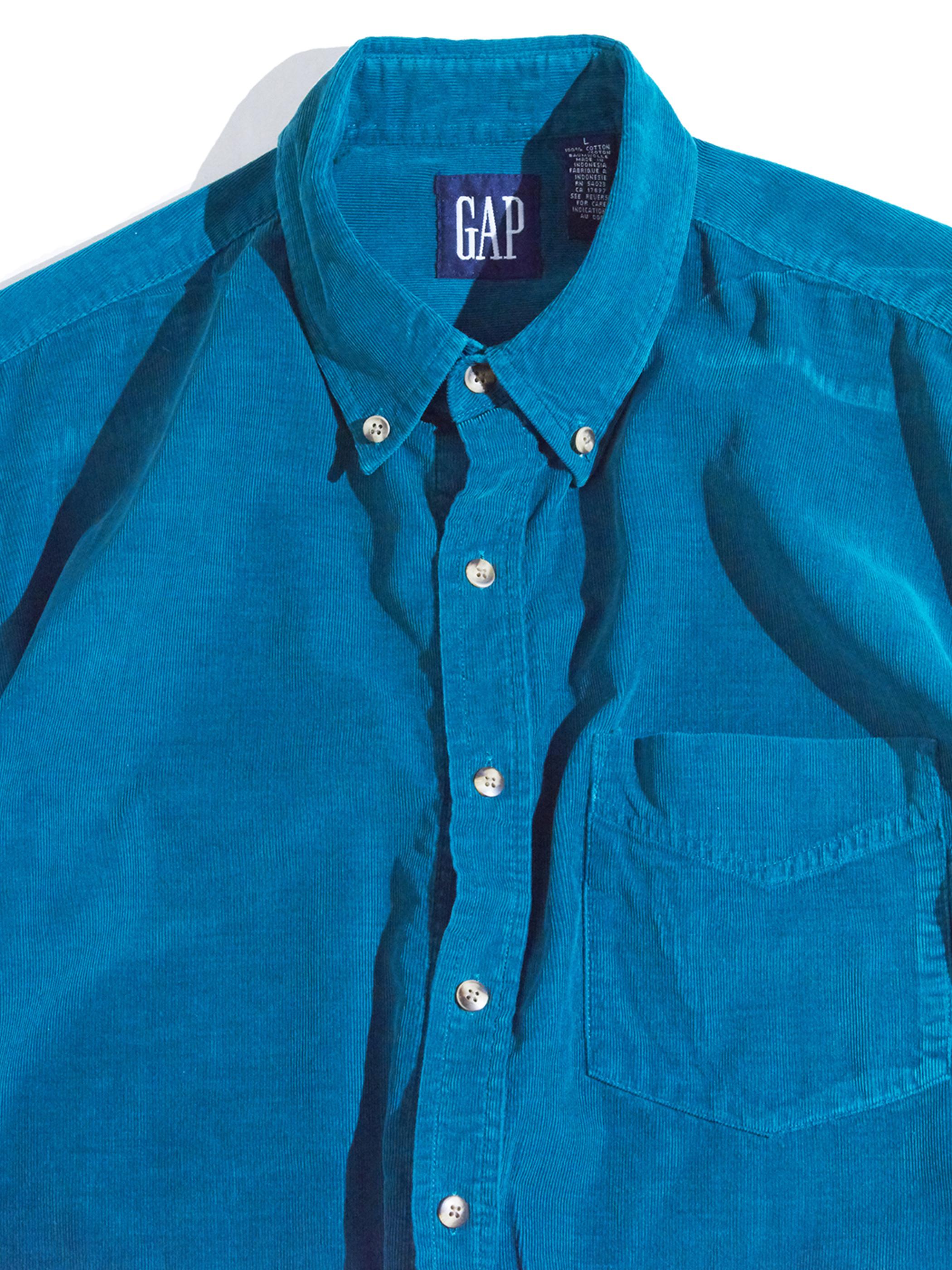 "1990s ""GAP"" corduroy B.D. shirt -TEAL-"