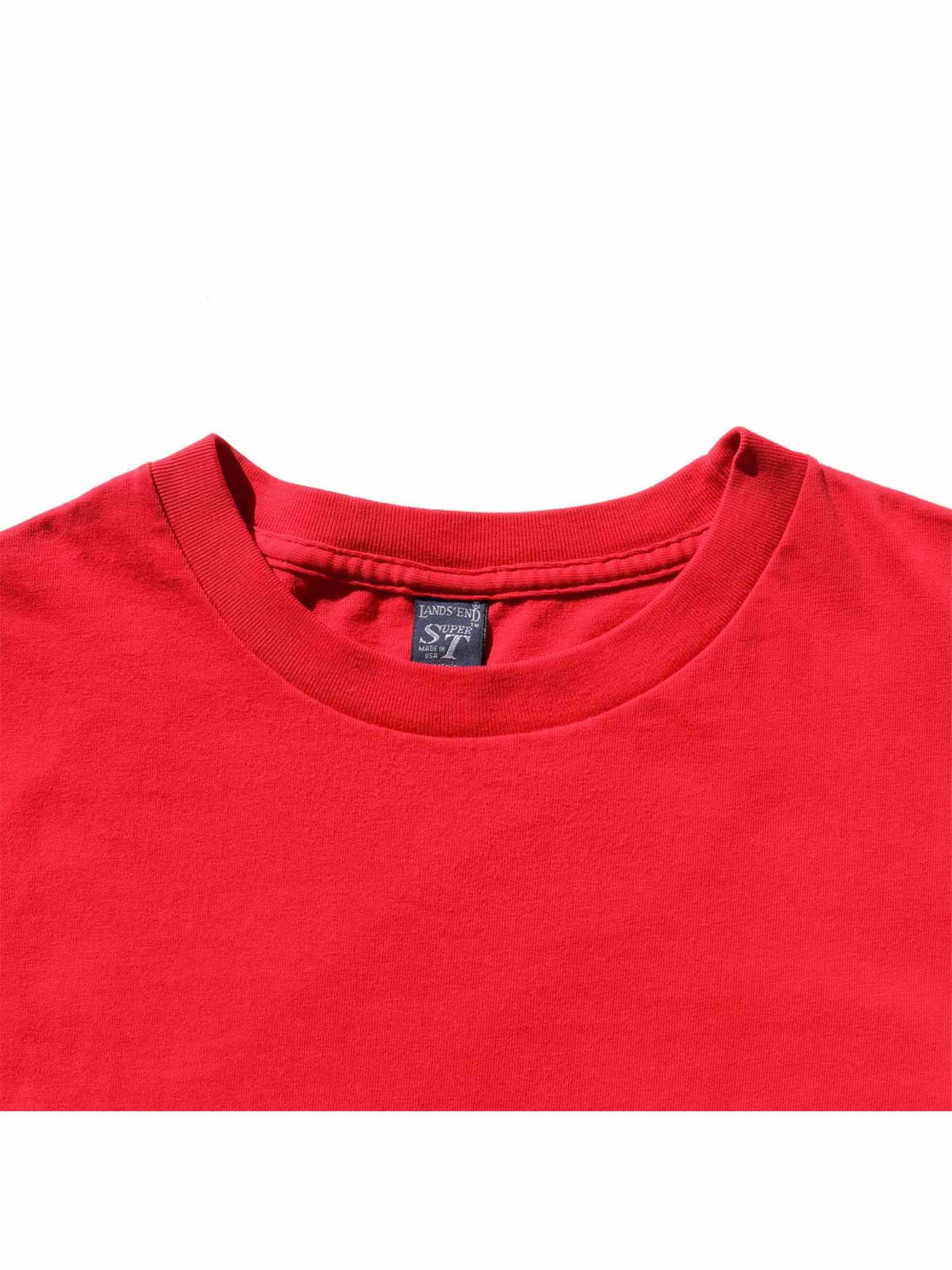 80's~ LANDS' END USA製 レッド ポケットTシャツ [L]