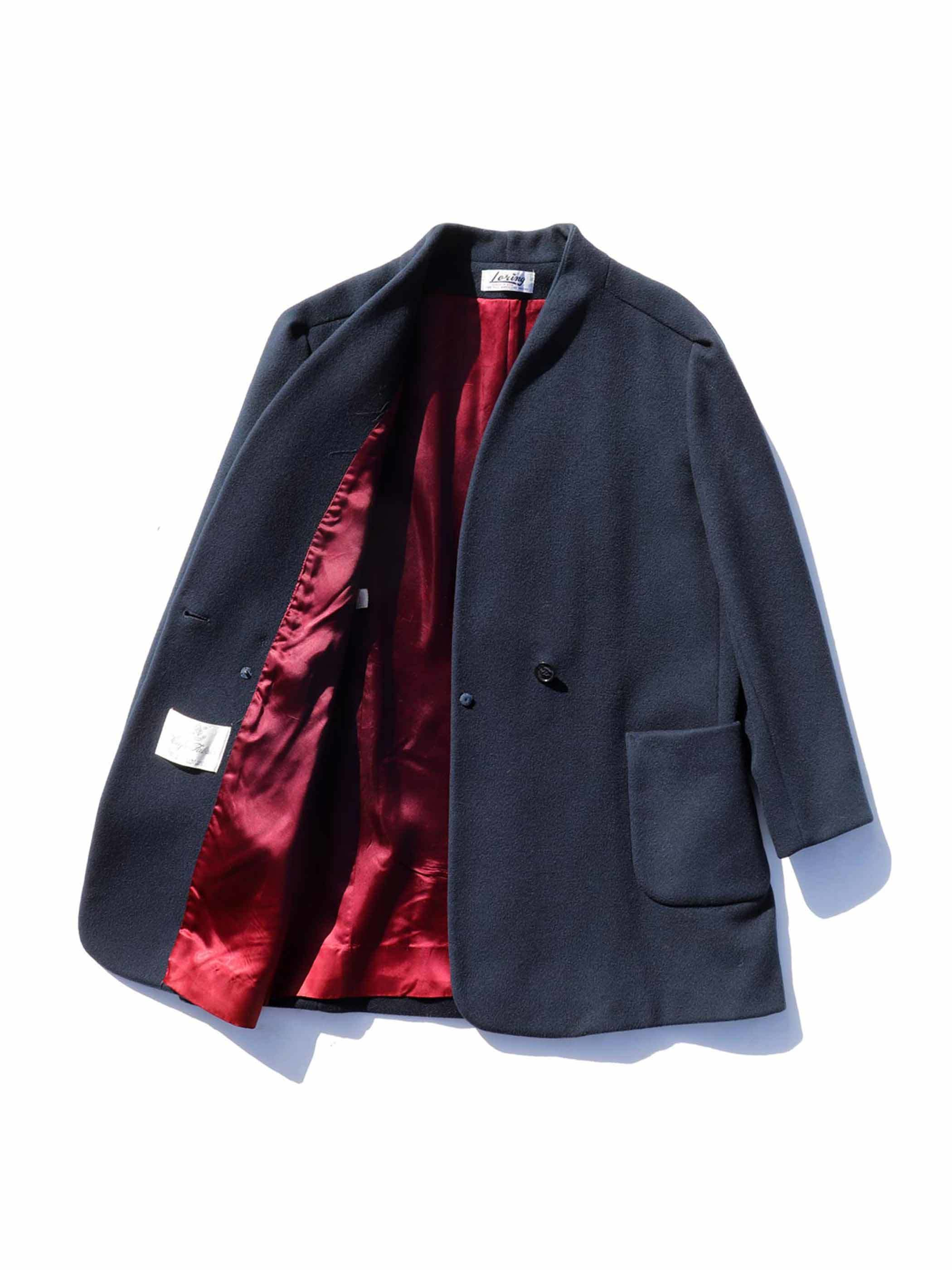 70's~ LORING USA製 ノーカラー ウールコート [About Women's L]