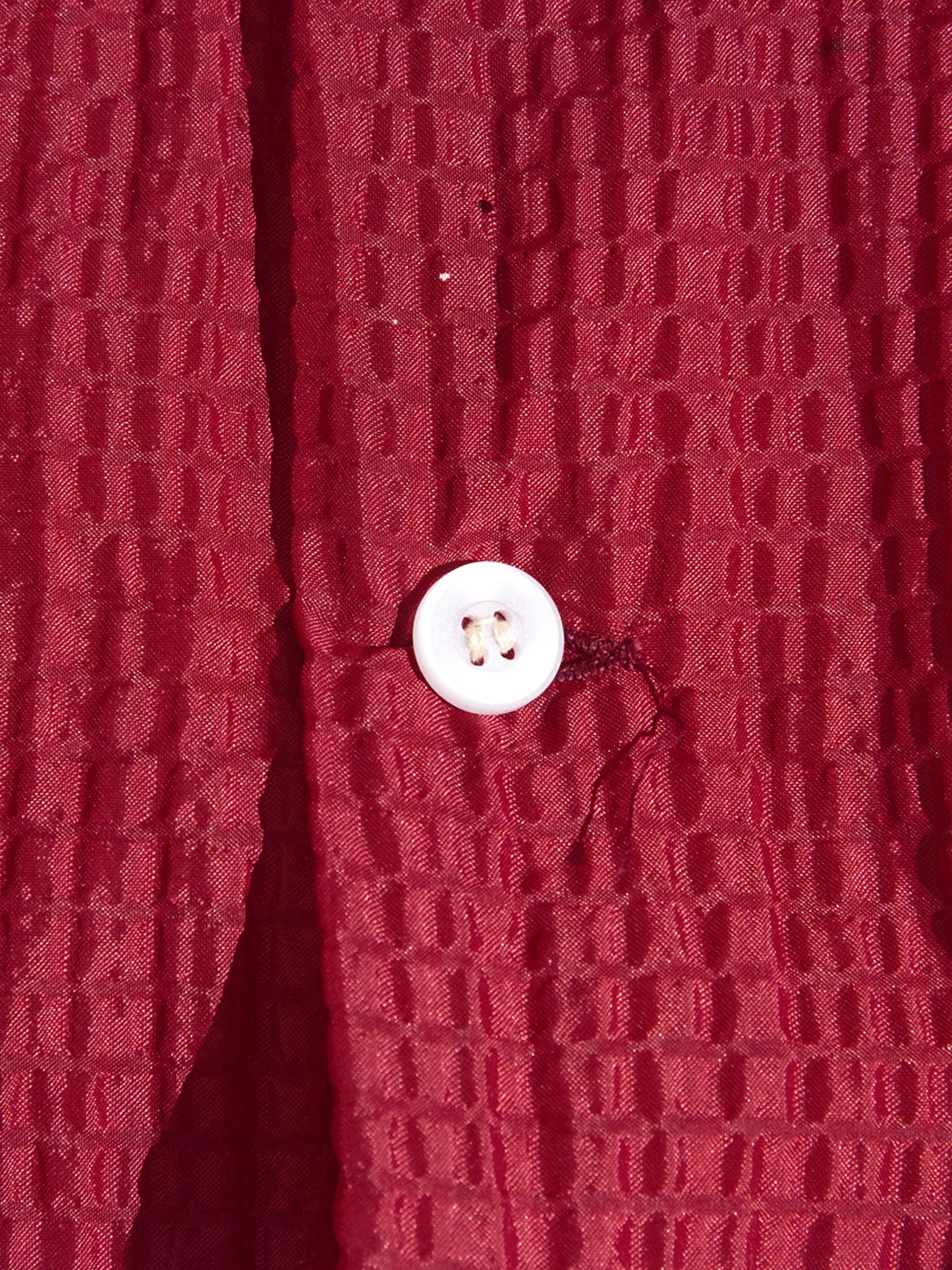 "1960s ""ESSRO"" nylon seersucker shirt -RED-"