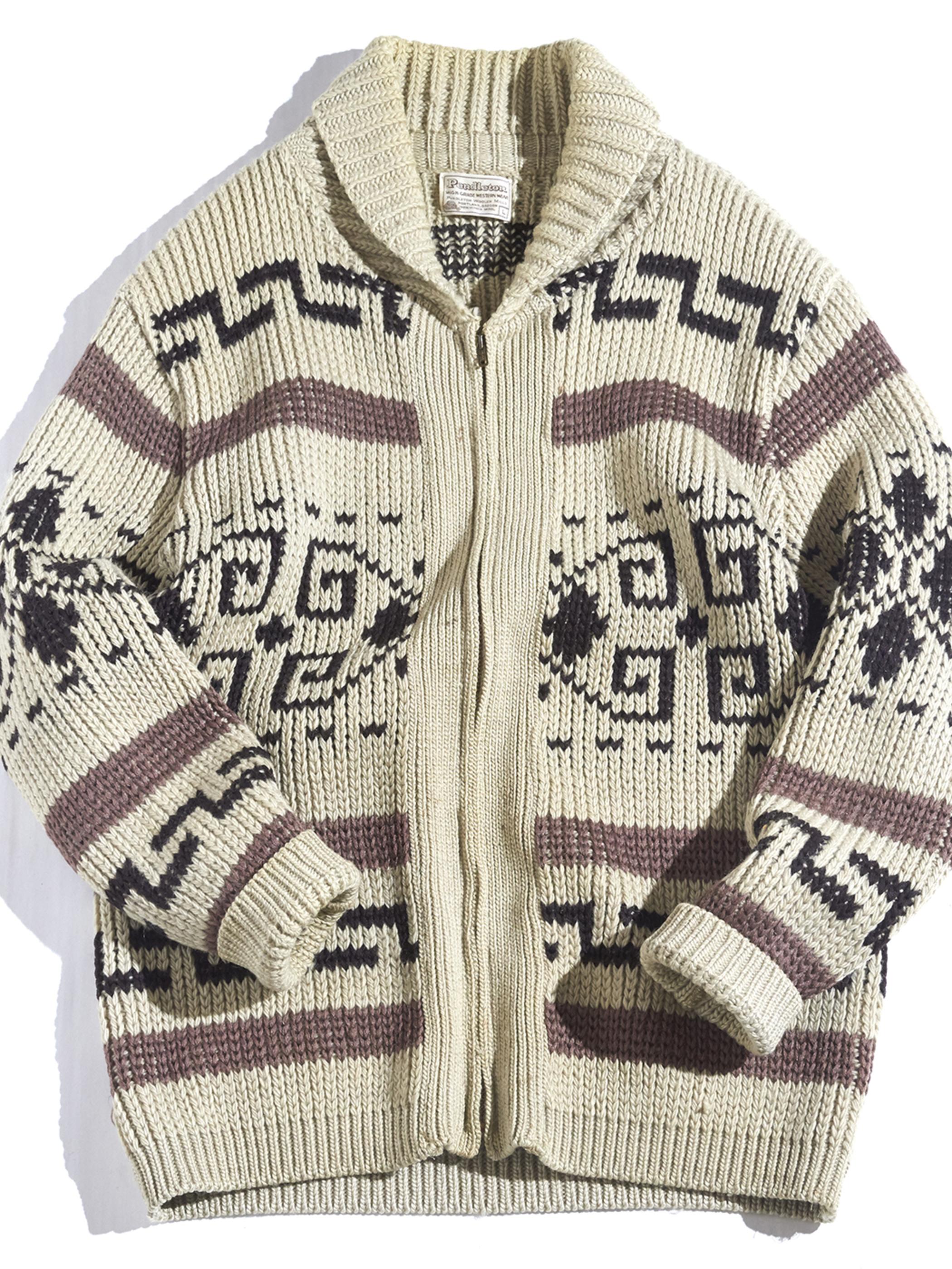 """1970s """"PENDLETON"""" cowichan knit jacket -BEIGE-"""