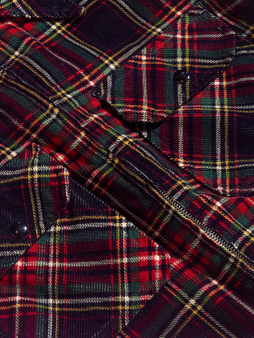 "1970s ""John David"" print corduroy check blouson -RED- <SALE¥16000→¥12800>"