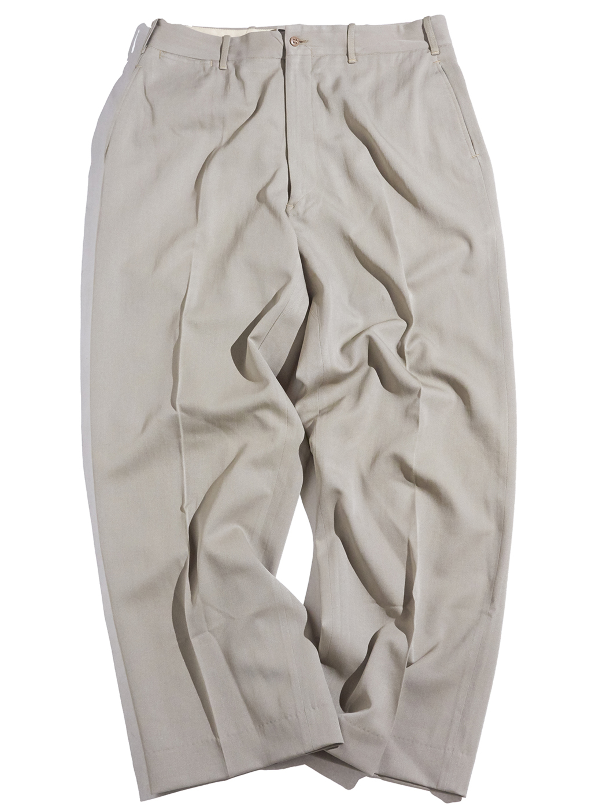 "1950s ""Long Krafted"" rayon gabardine slacks -BEIGE-"
