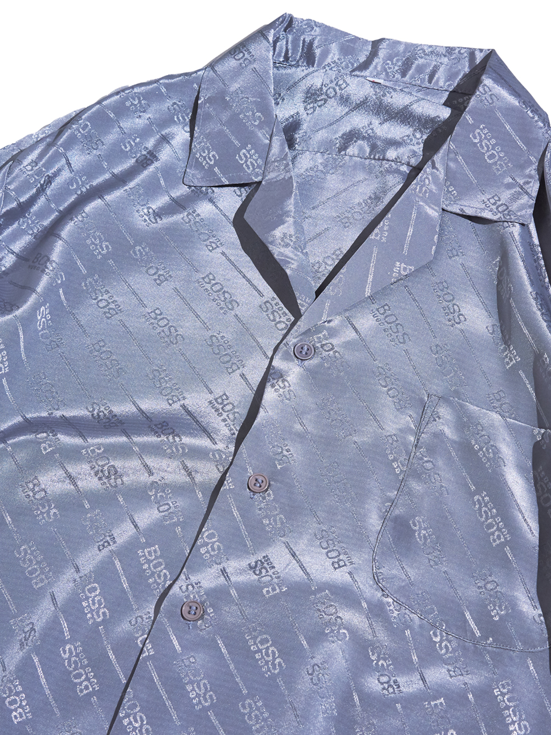 "1980s ""HUGO BOSS"" s/s rayon satin pattern shirt -GREY-"